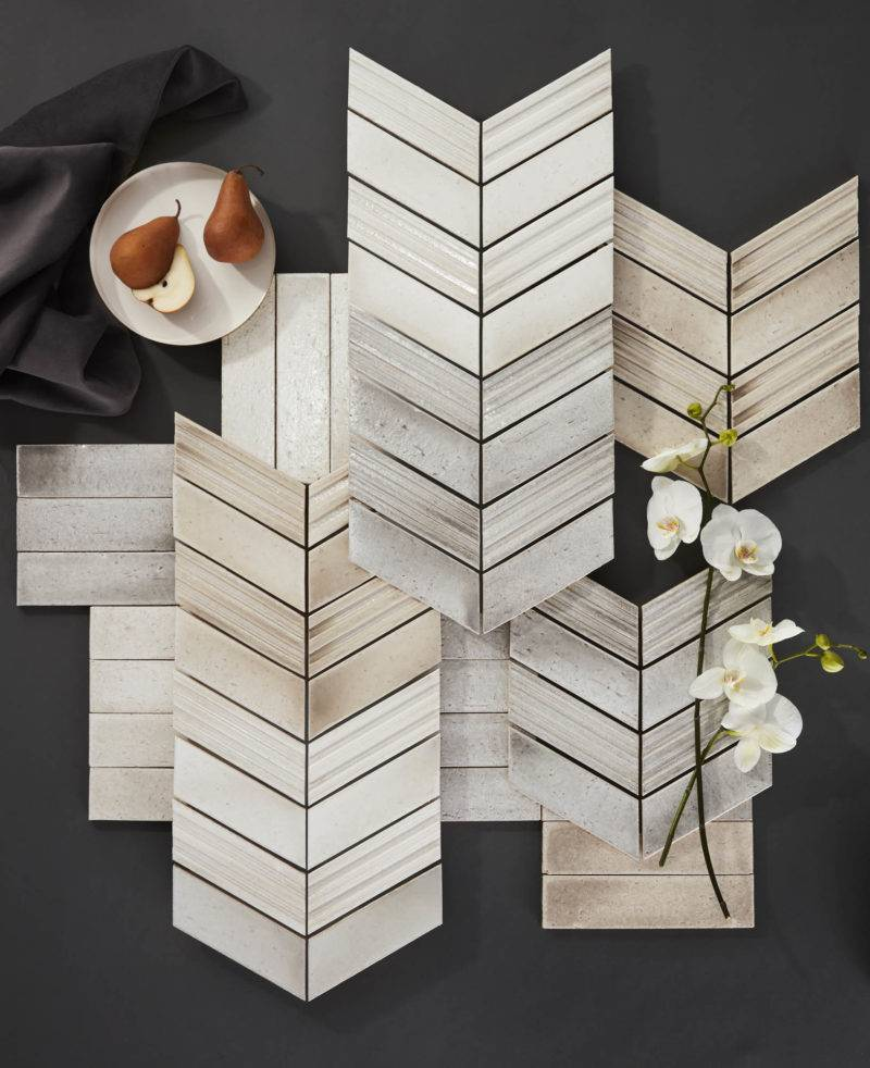 The Ashlar series of chevron and subway handmade-look tile