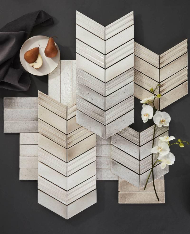 The Ashlar series of chevron and subway handmade-look tile