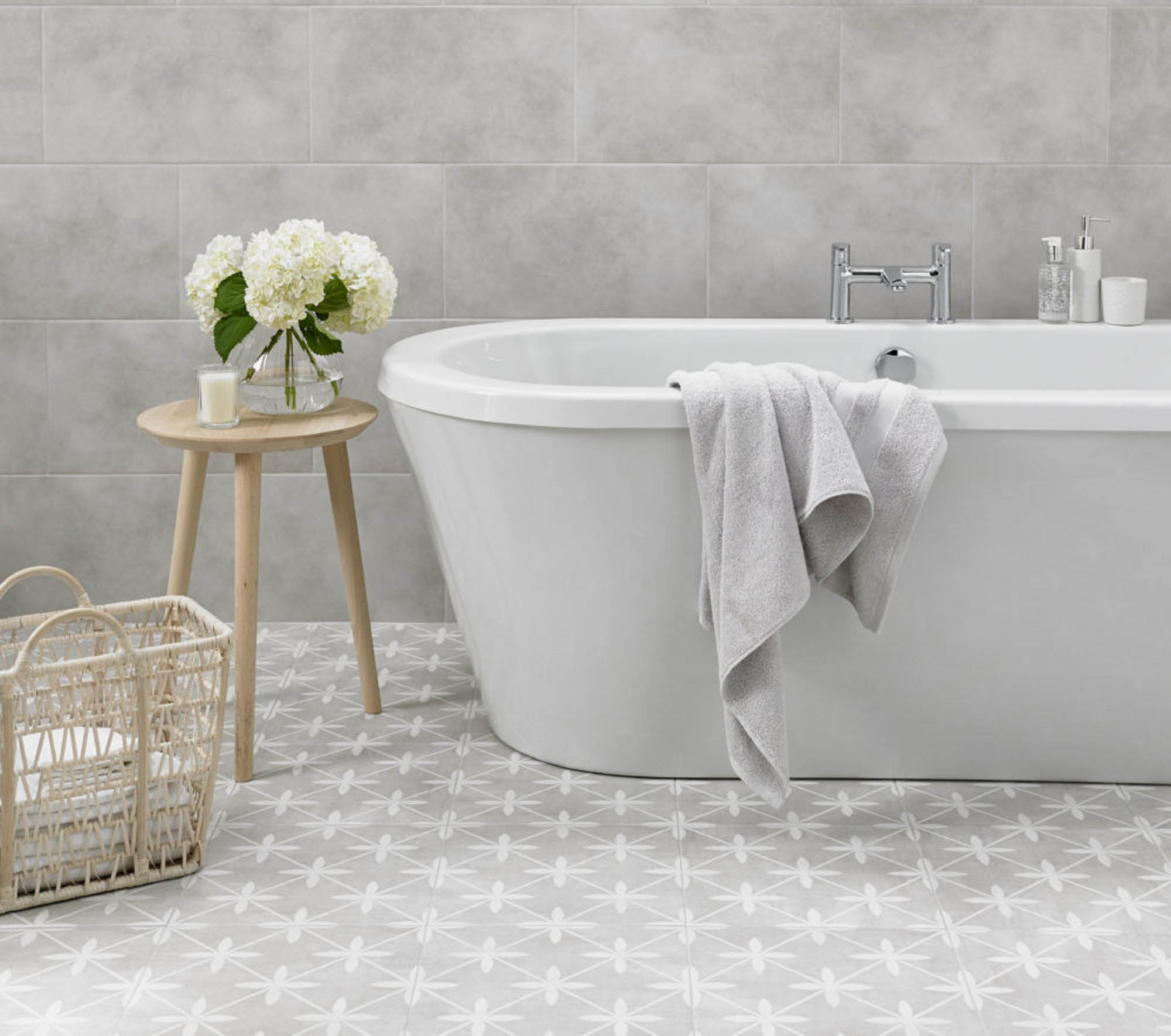 Dove grey bathroom with Laura Ashley floor tile