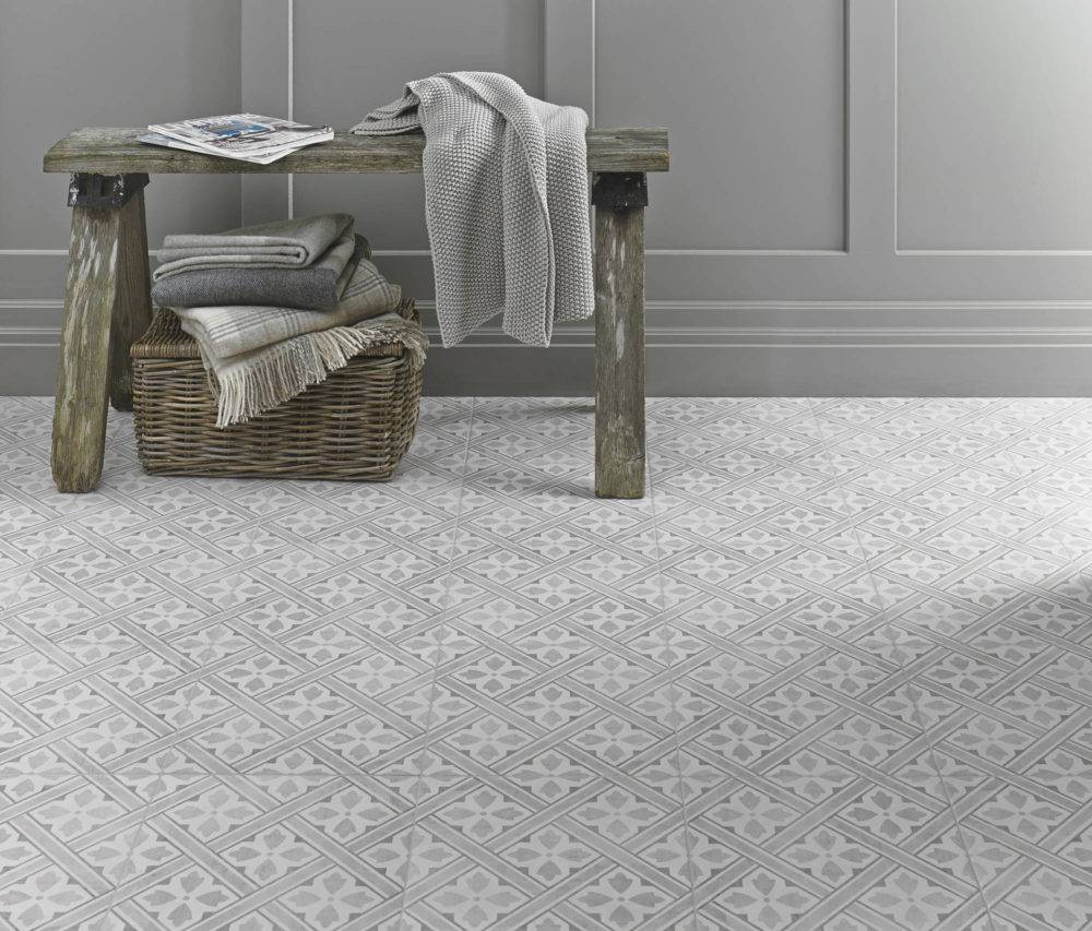 Grey patterned Laura Ashley floor tile