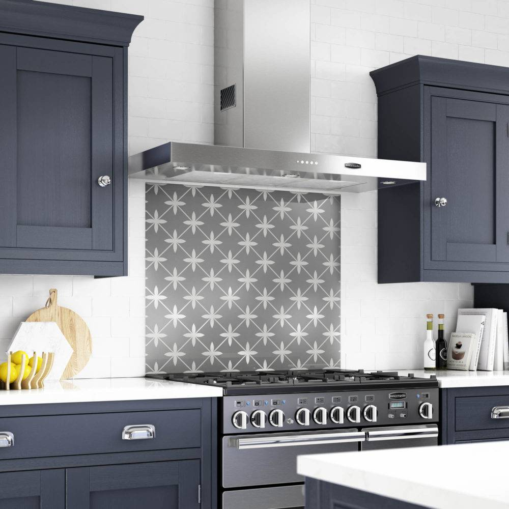 A large-format Laura Ashley splashback in a kitchen