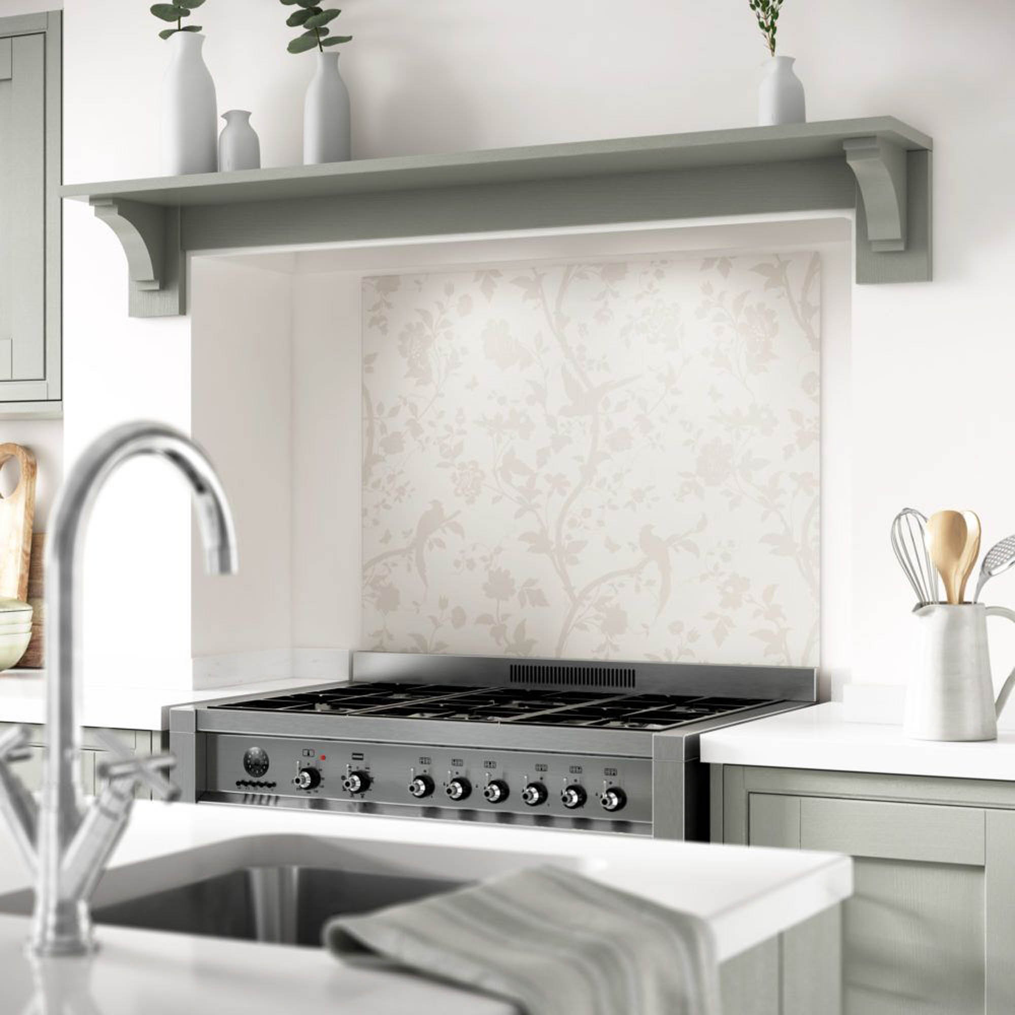 A soft flora and fauna motif on a Laura Ashley splashback