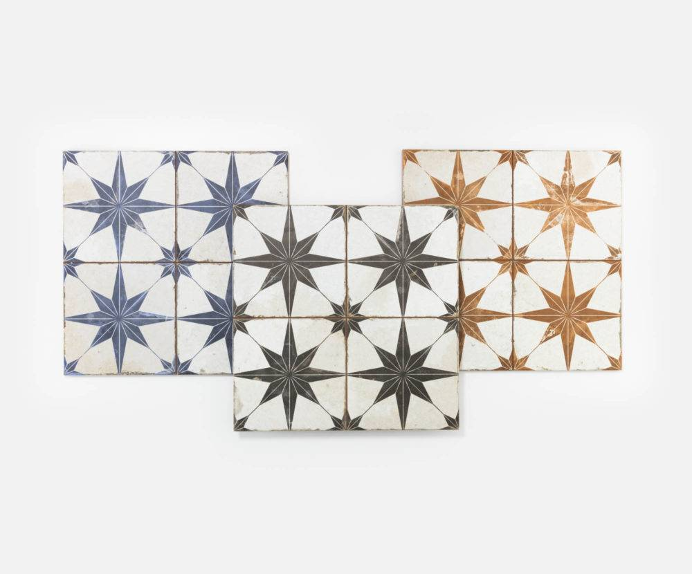 The handmade-look Star tiles in blue, black and orange