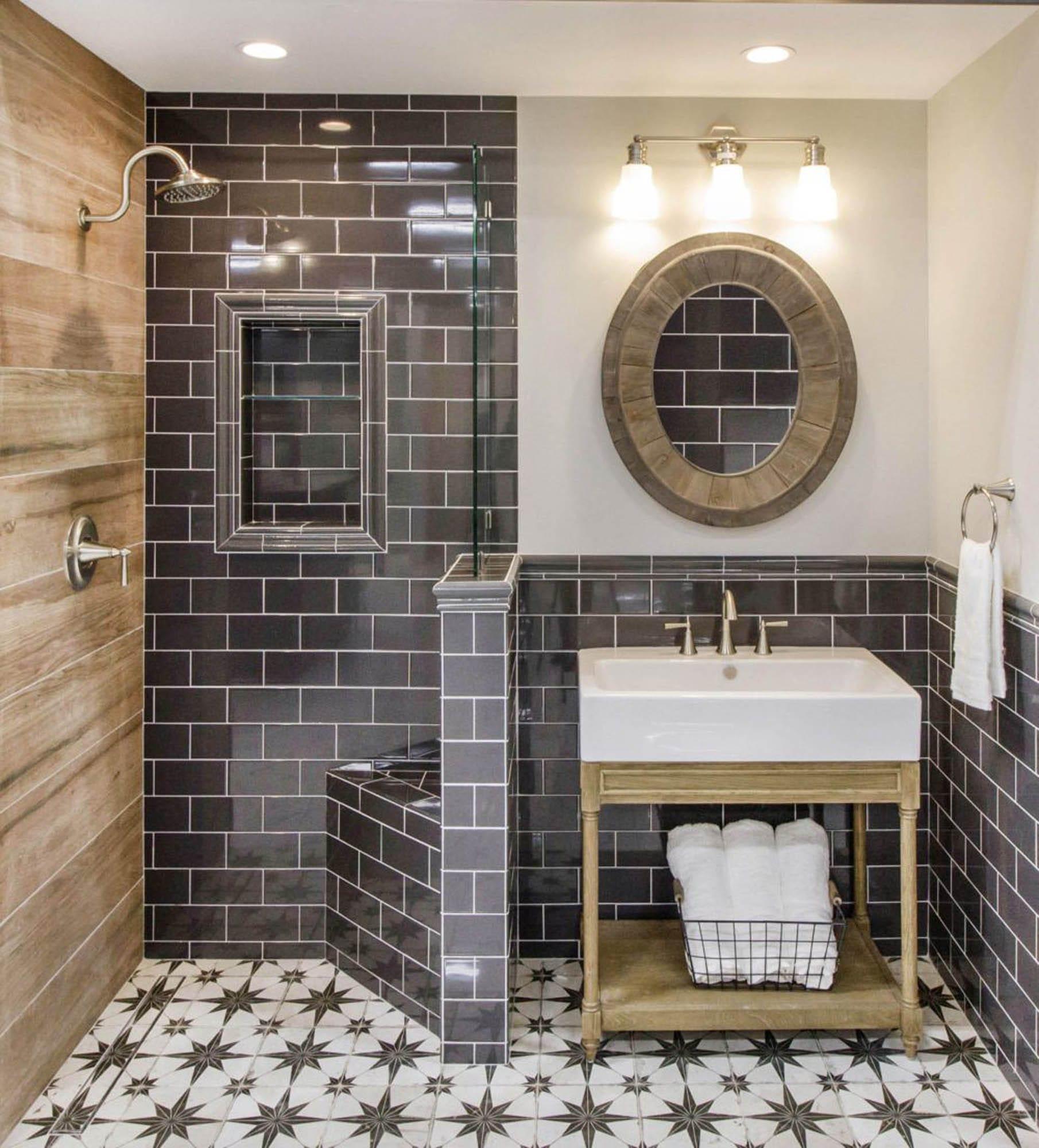 Wood-look, glossy subway and encaustic-look tile bathroom