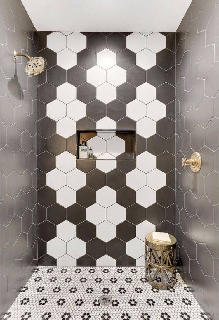 Black and white geometric tiled shower