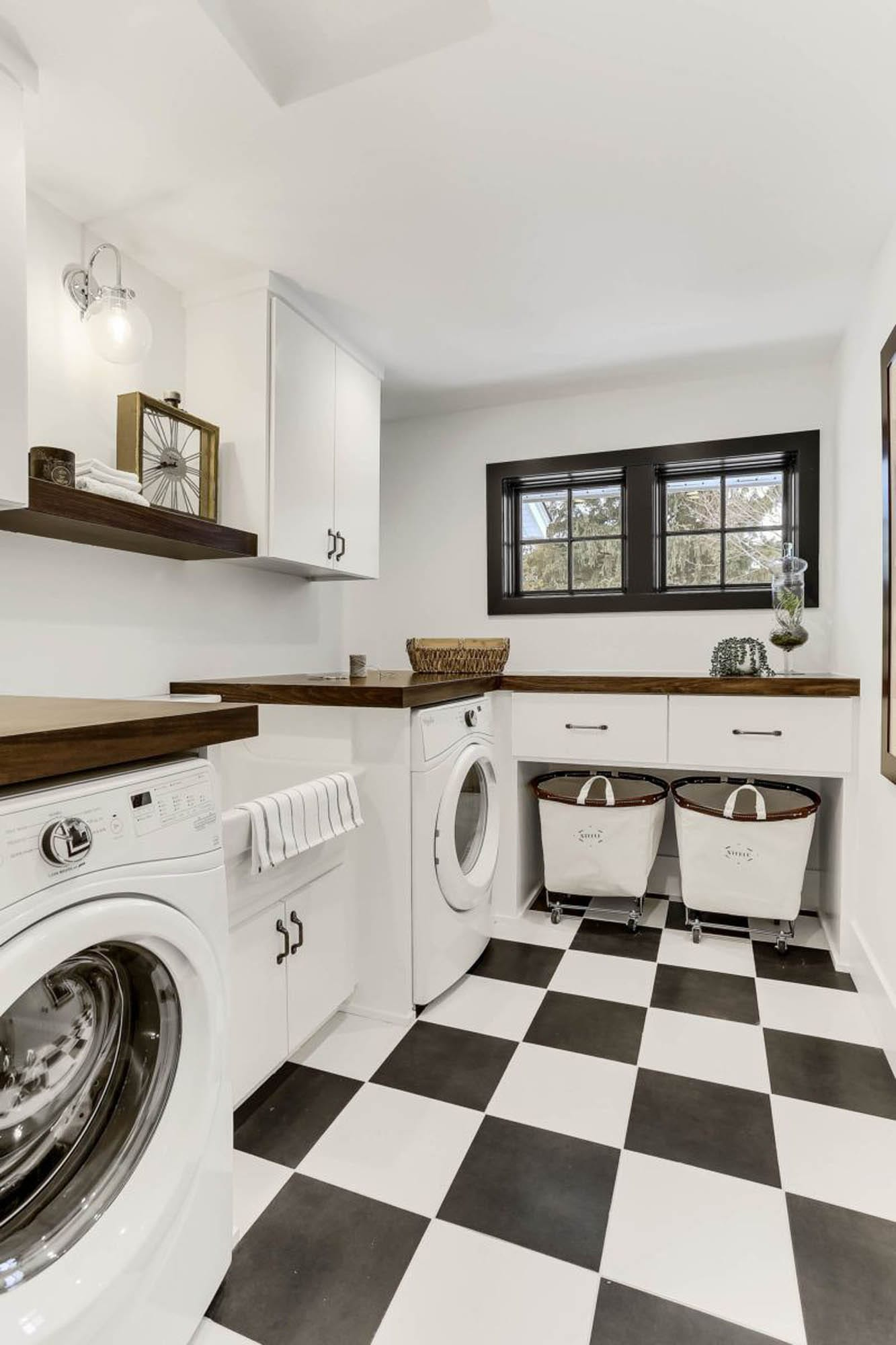 Black-and-white checkerboard laundry room floor
