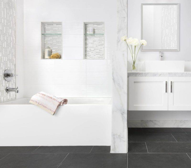 Grey softens this black-and-white bathroom look.