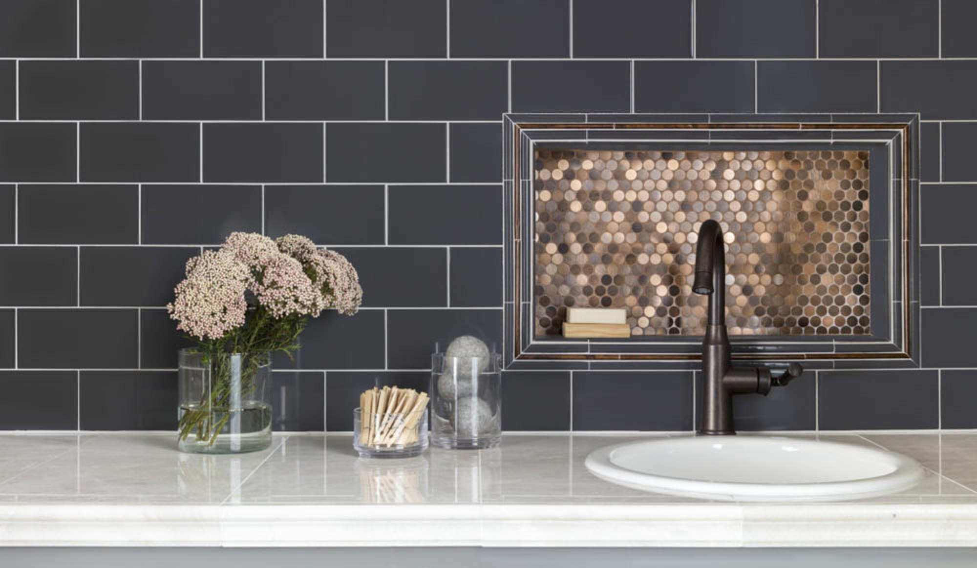 Copper penny round mosaic backsplash
