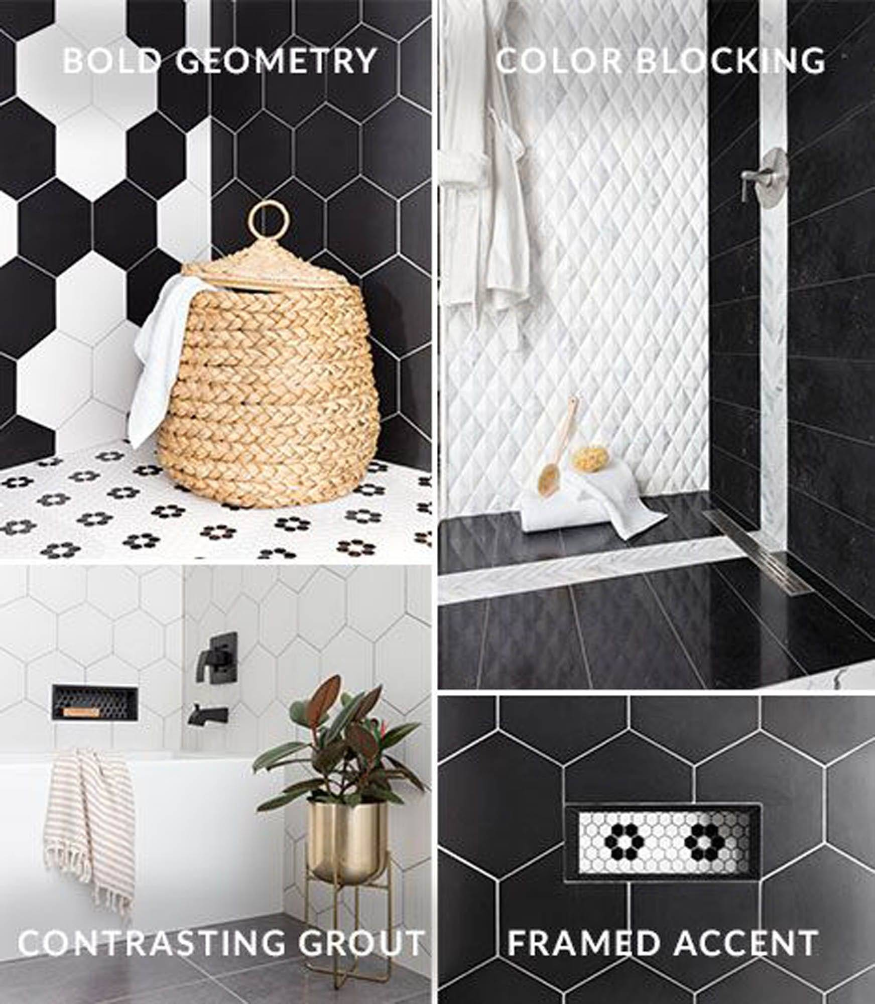 4 ways to tile with black and white.
