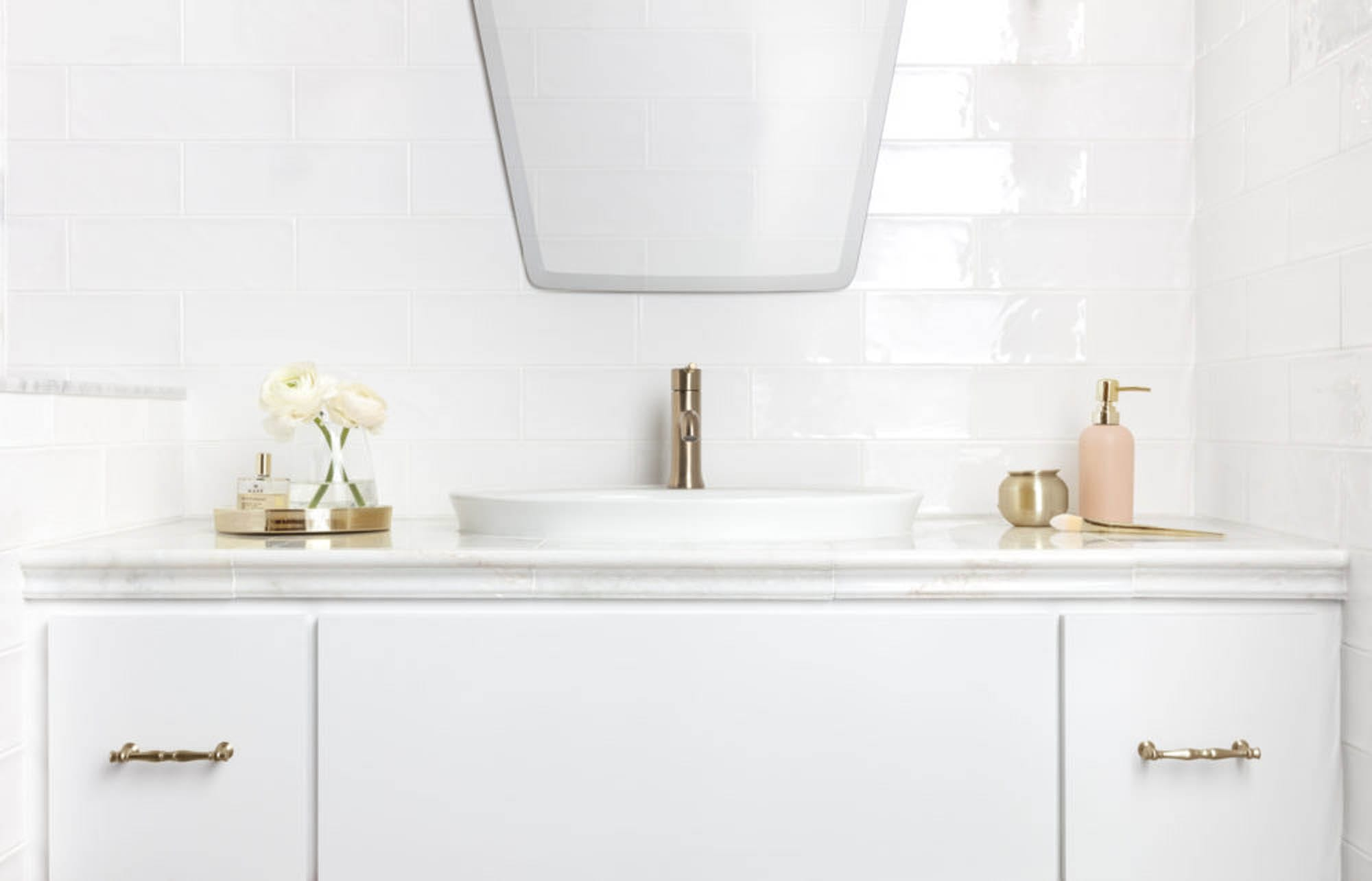 An all-white bathroom color palette