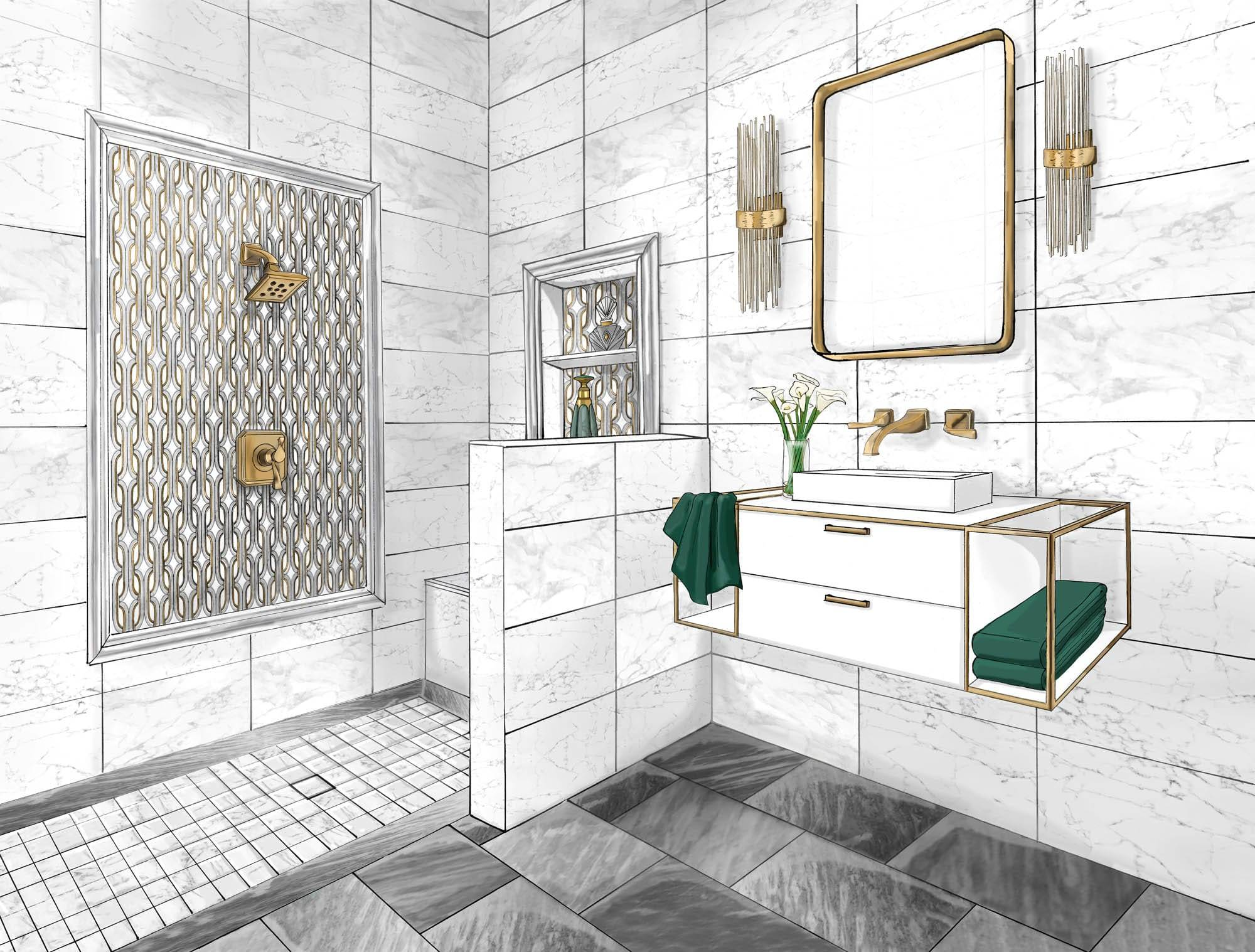 Sketch of Gilded Glamour bathroom.