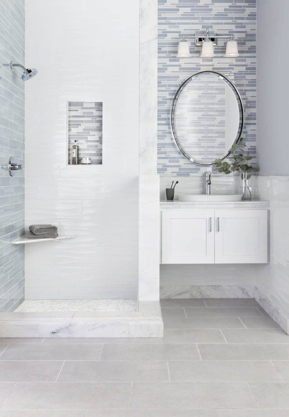 A finished bathroom with transition pieces.
