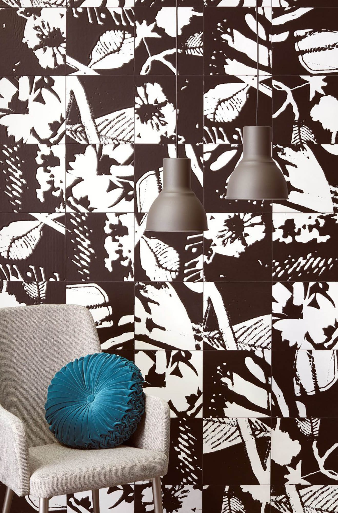 Graphic black-and-white wall tile