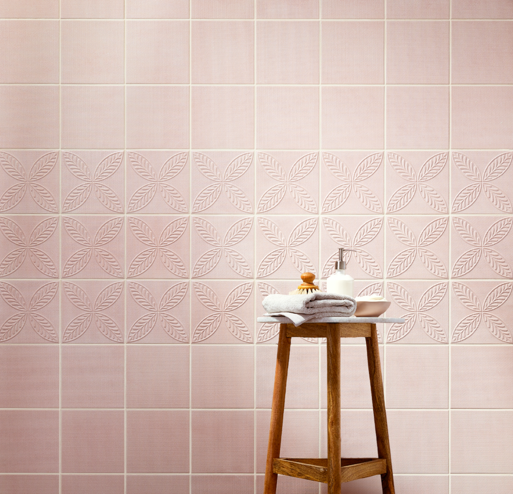 Textured pink wall tiles