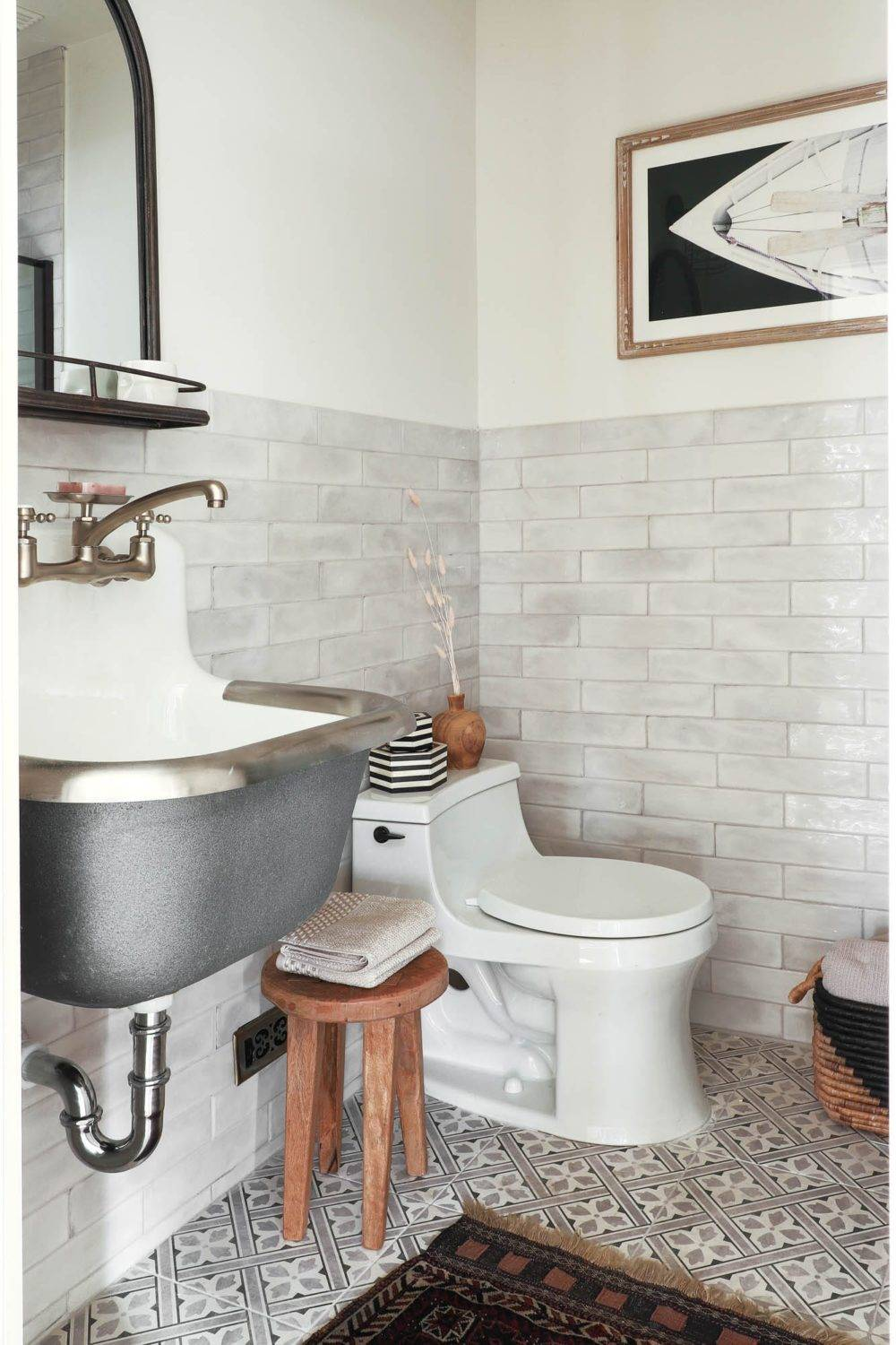 Subway tile and patterned floor tile