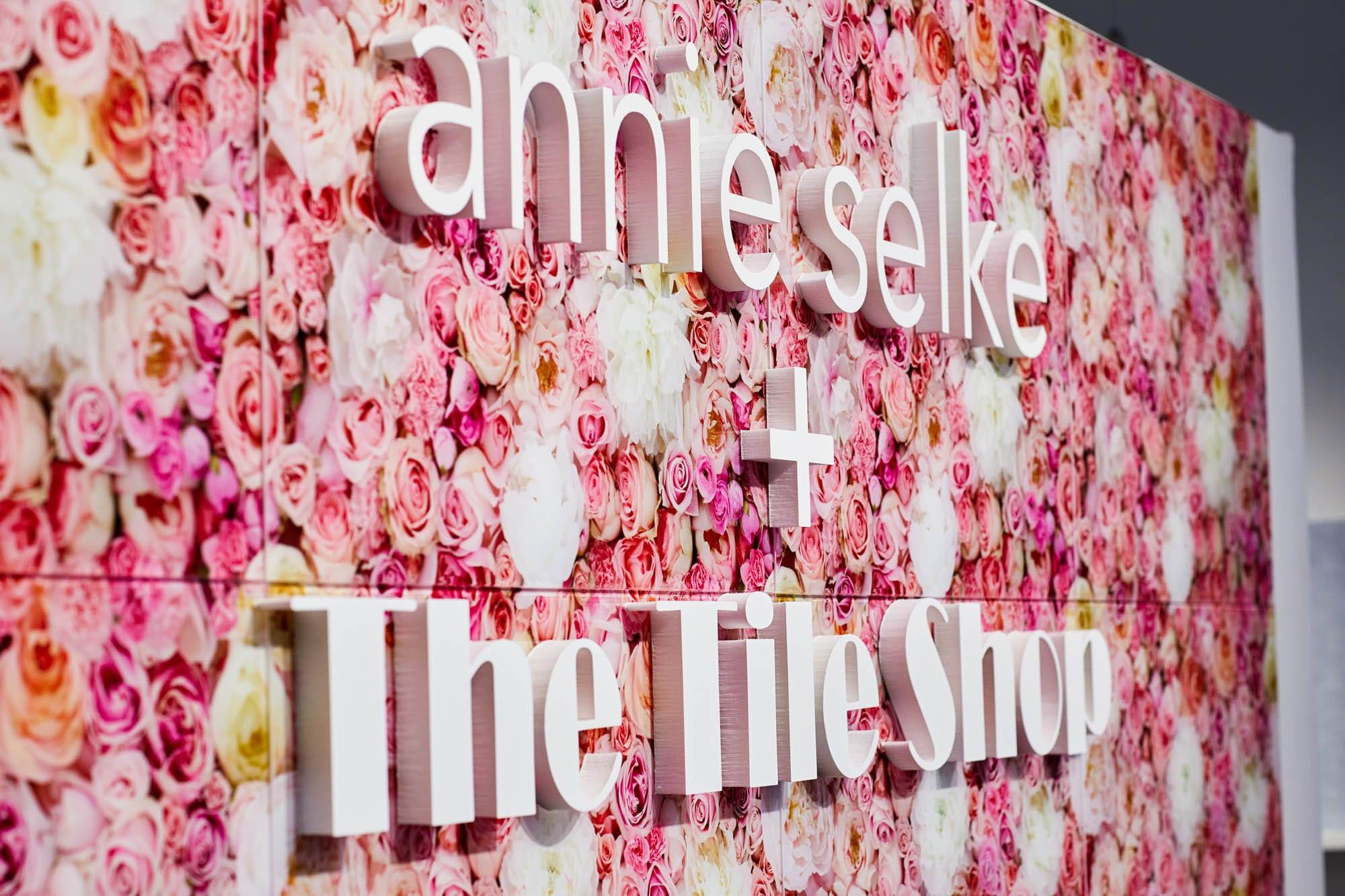 Annie Selke and The Tile Shop sign