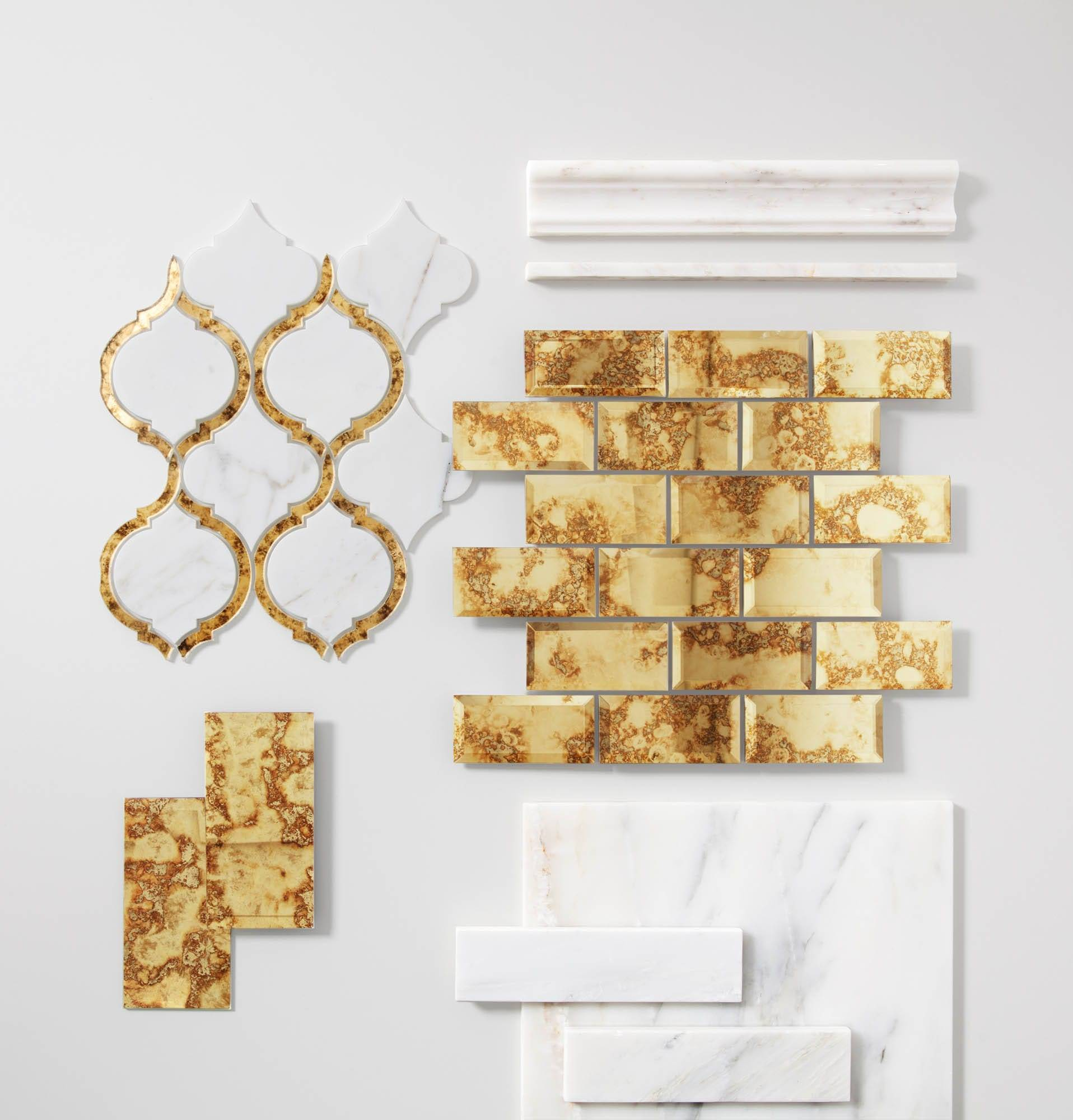 Gold mirrored tile