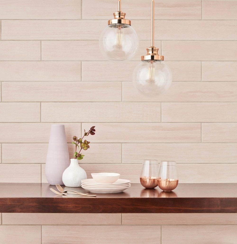 Pink wood-look wall tile