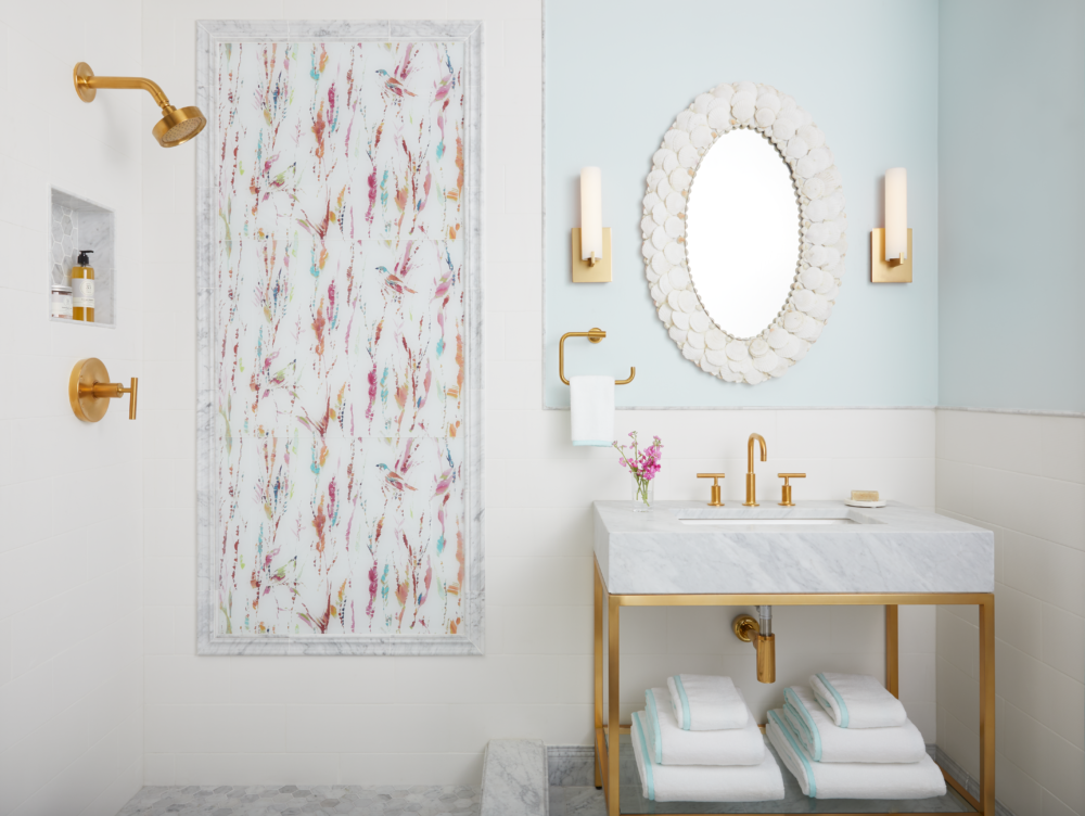 Bathroom with colorful art glass shower wall