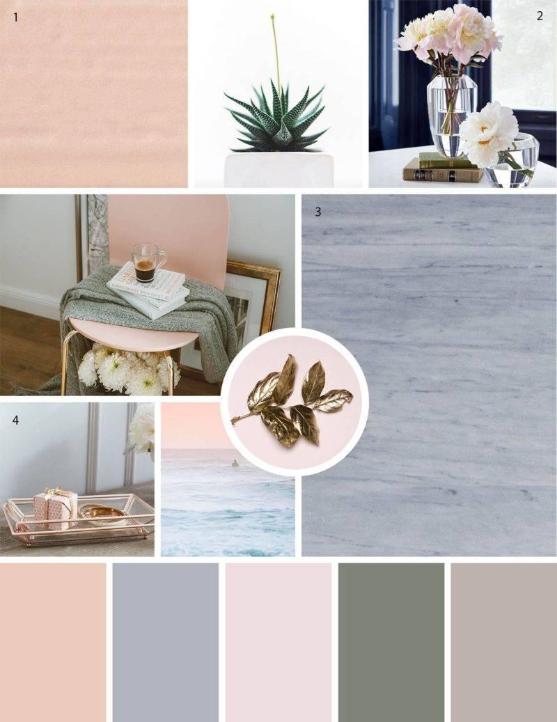 Elegant blush mood board palette