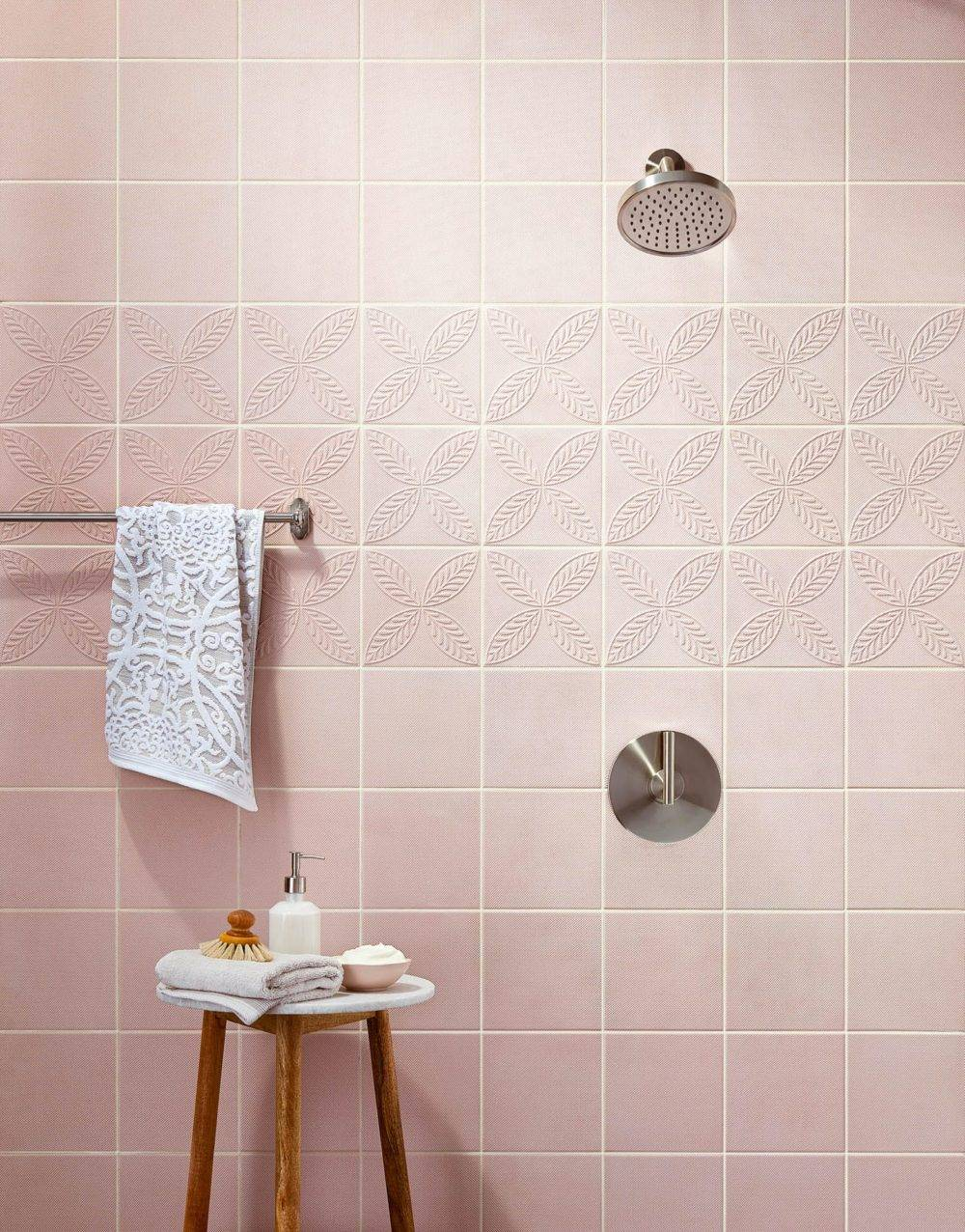 Blush pink shower wall