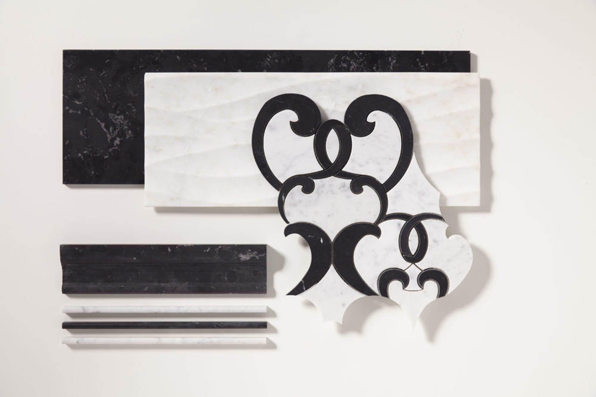 mosaic, black and white tile