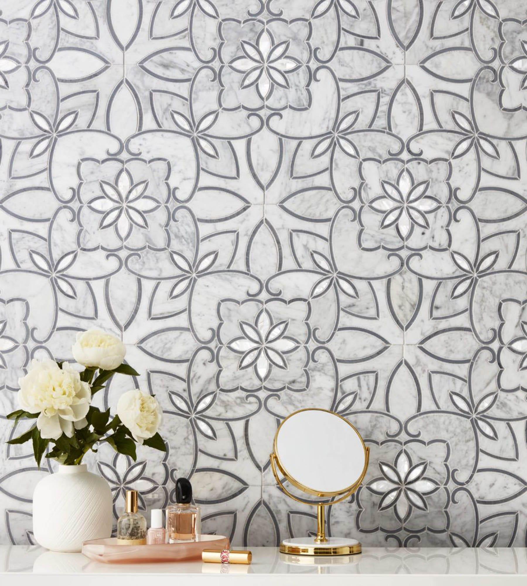 Mosaic tile wallpaper effect grey