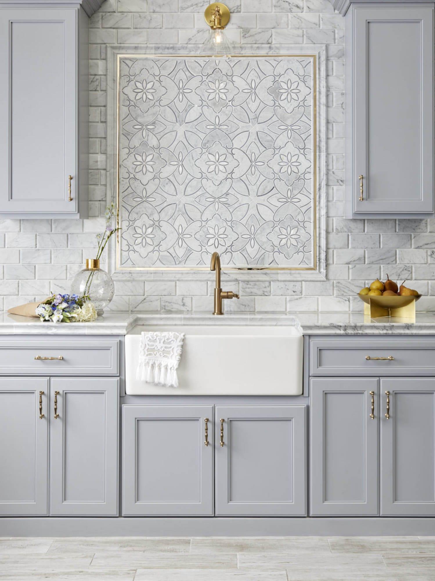 Mosaic kitchen backsplash frame