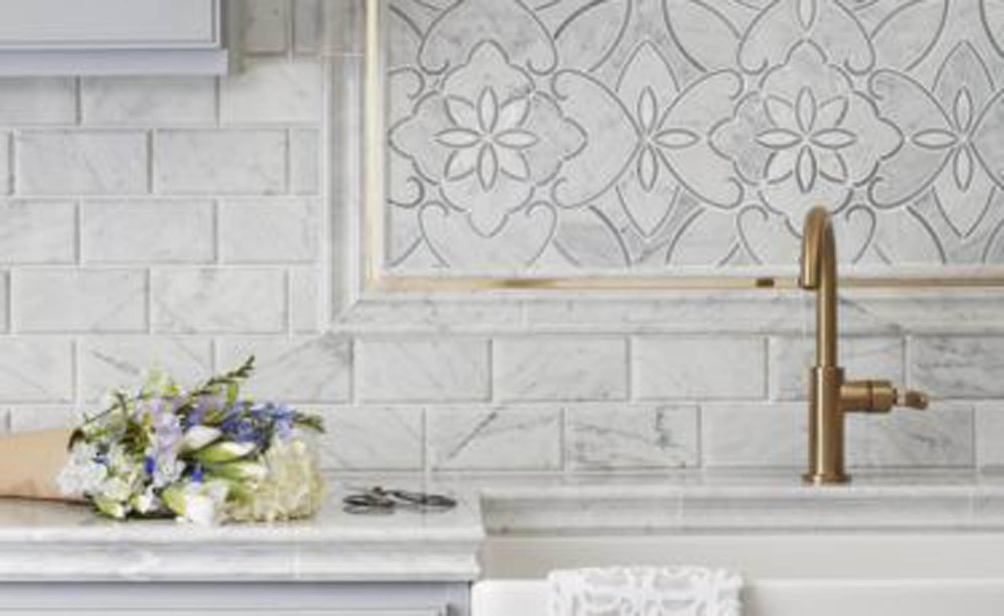 Subway tile with mosaic kitchen
