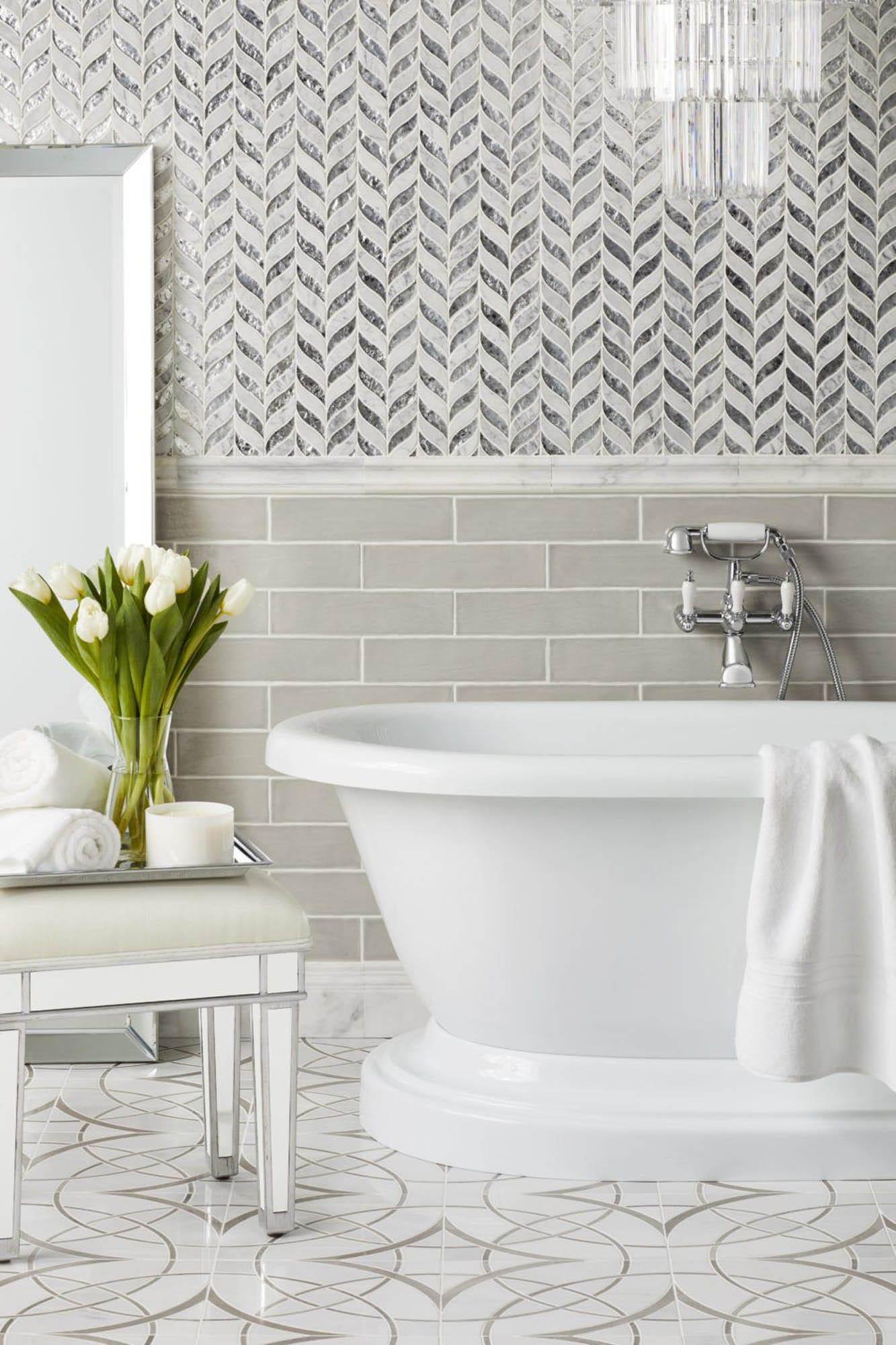 Mosaic bathroom wainscot