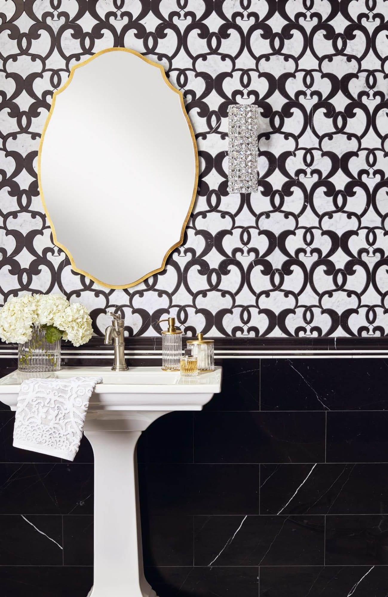 Black and white bathroom tile wallpaper effect