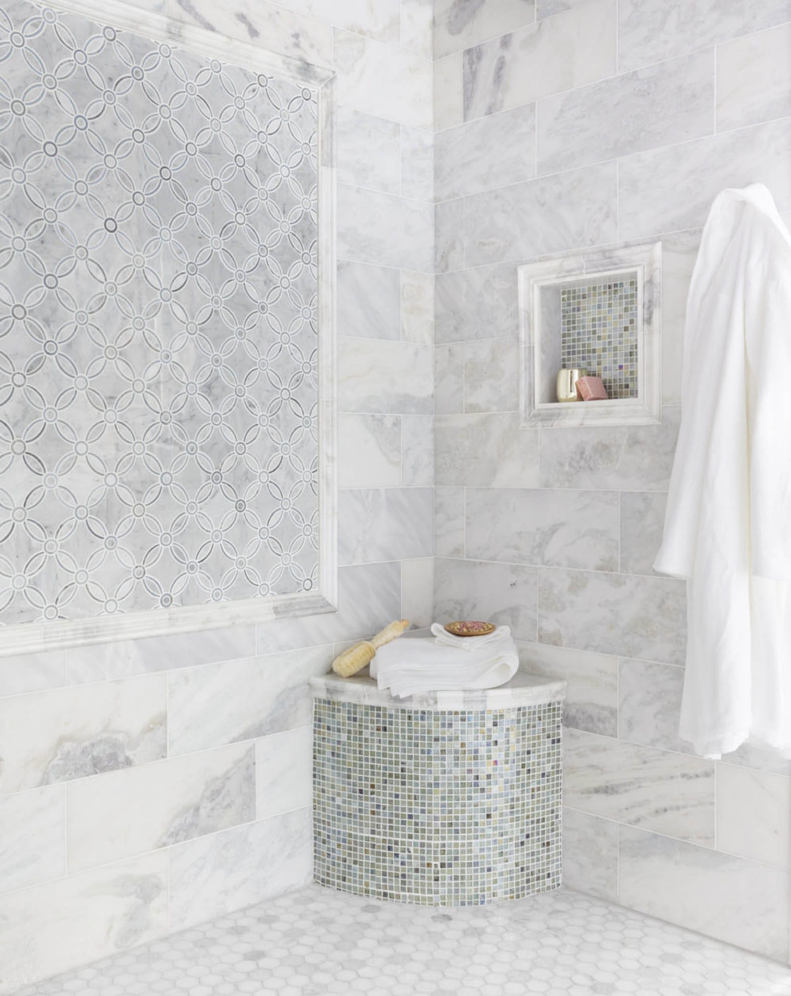Waterjet mosaic shower frame