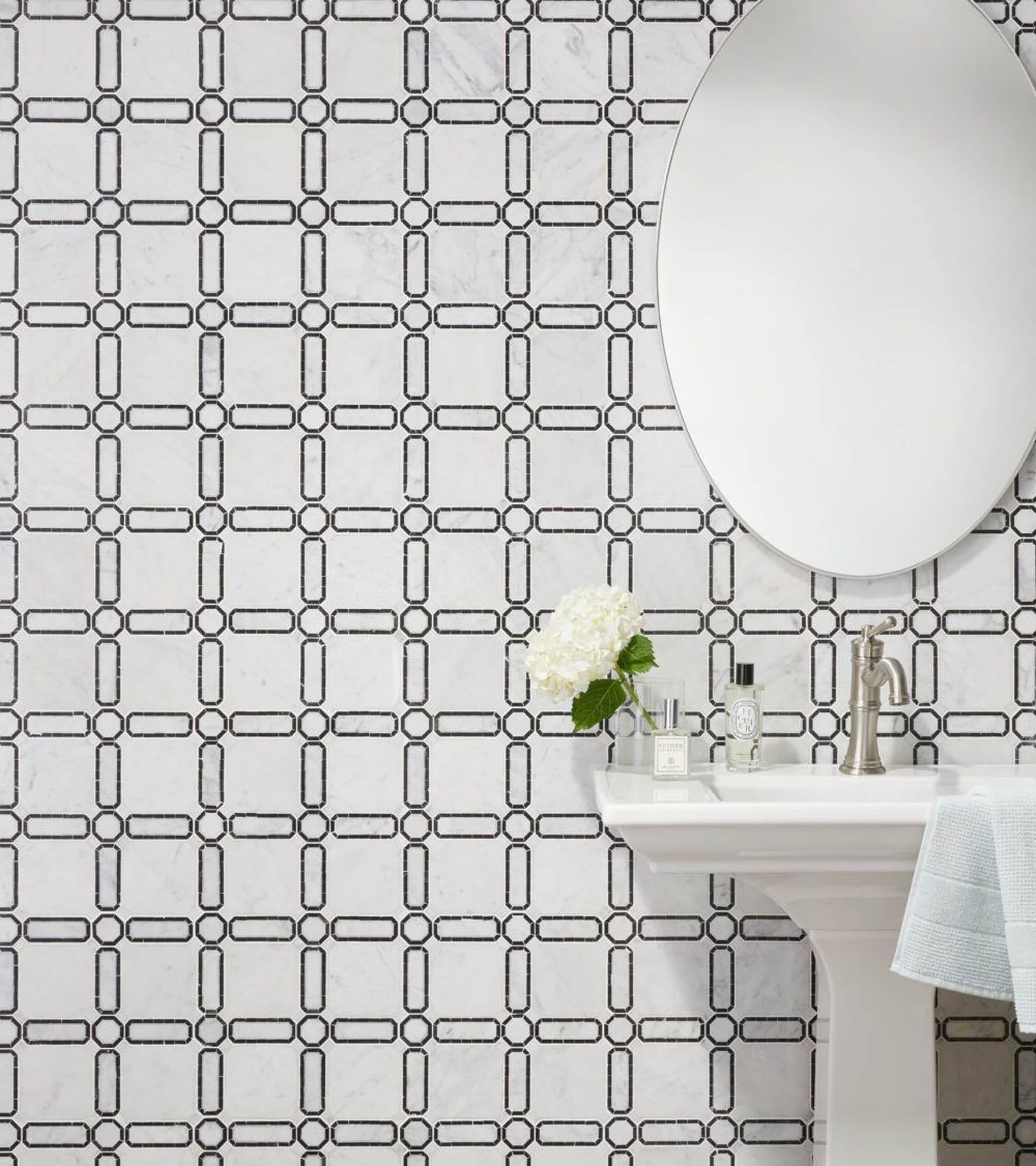 Mosaic tile wallpaper effect