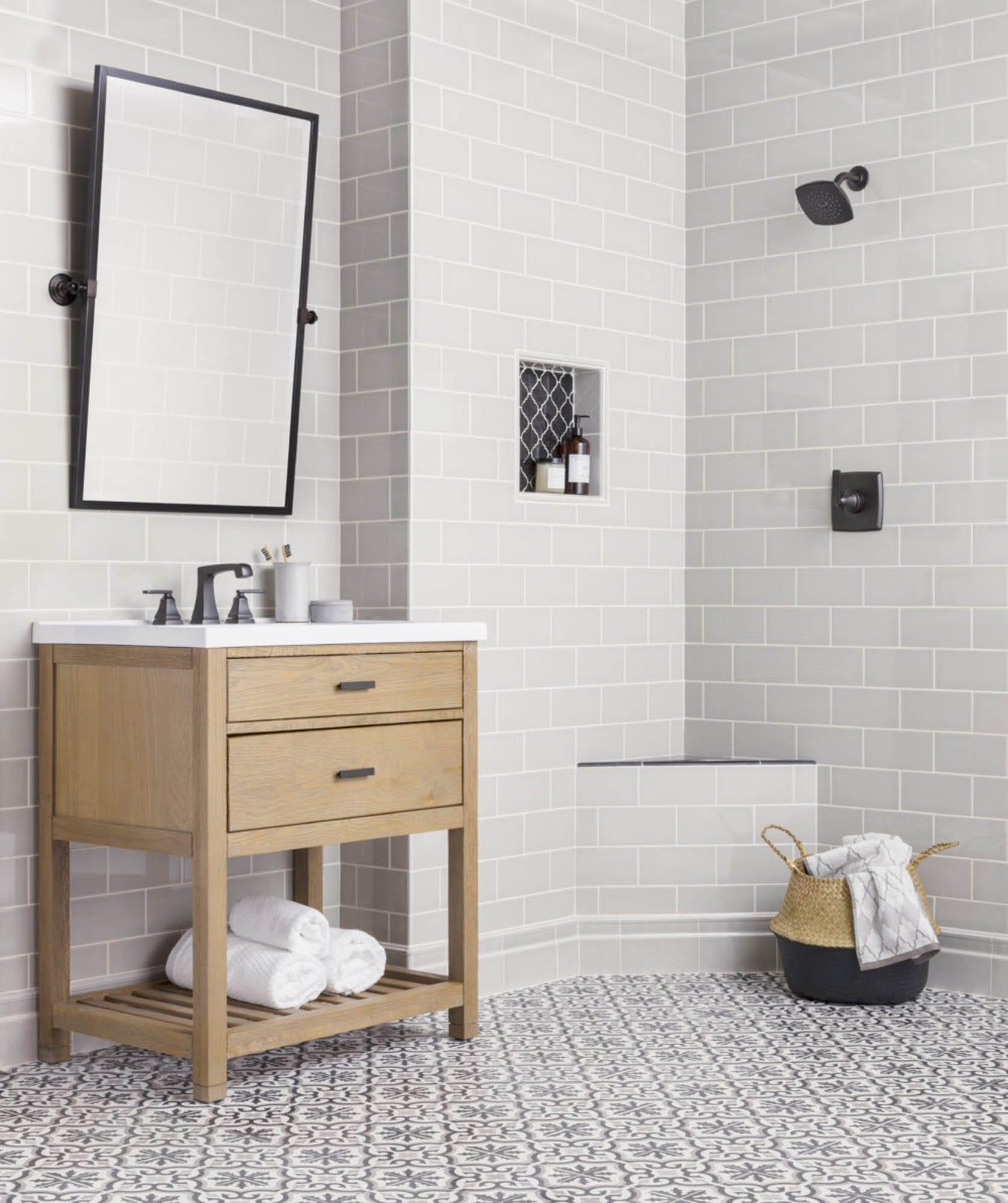 Grey shower and encaustic floor