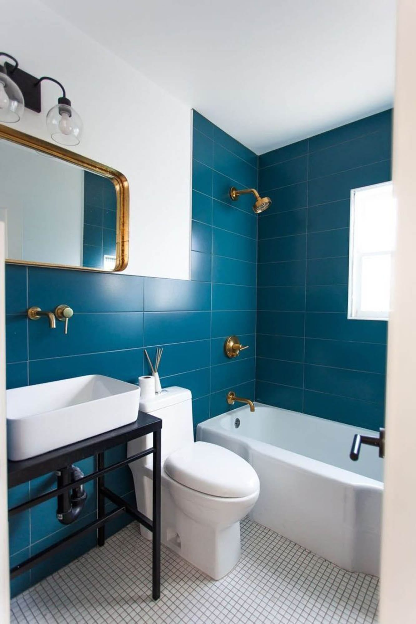 Bold blue wall tiles
