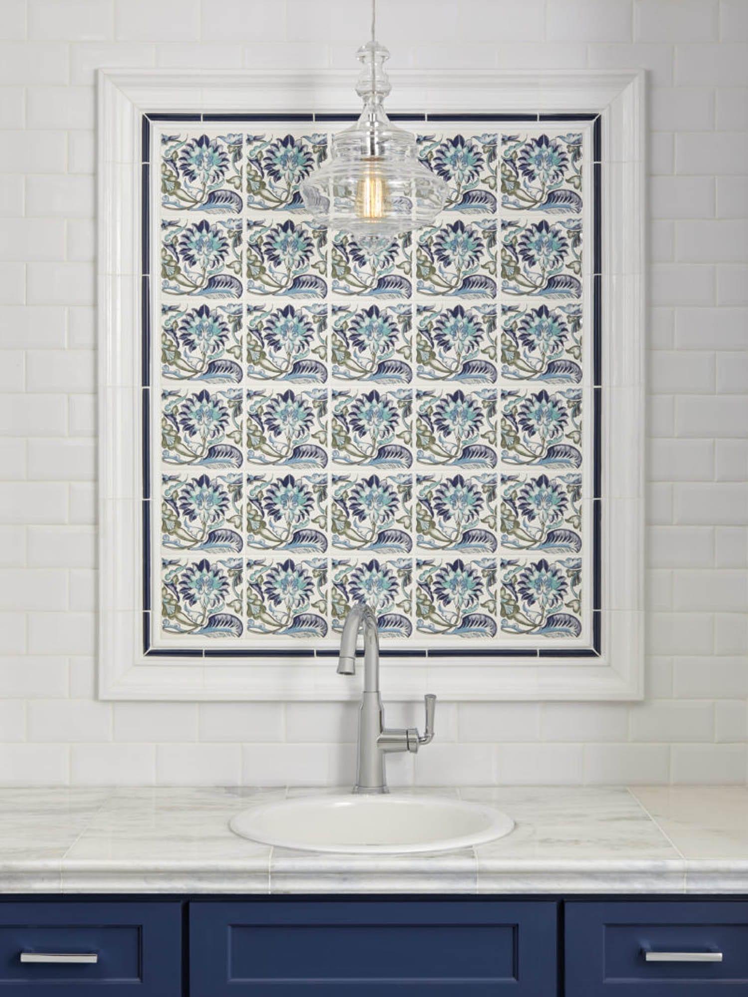 Framed patterned floral tiles