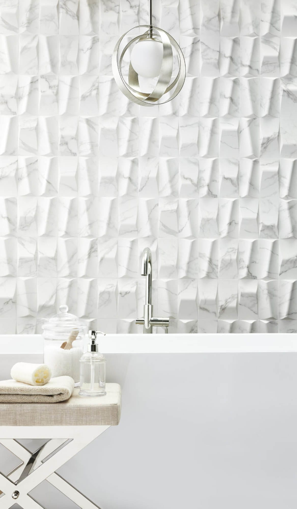 Dimensional white wall tiles