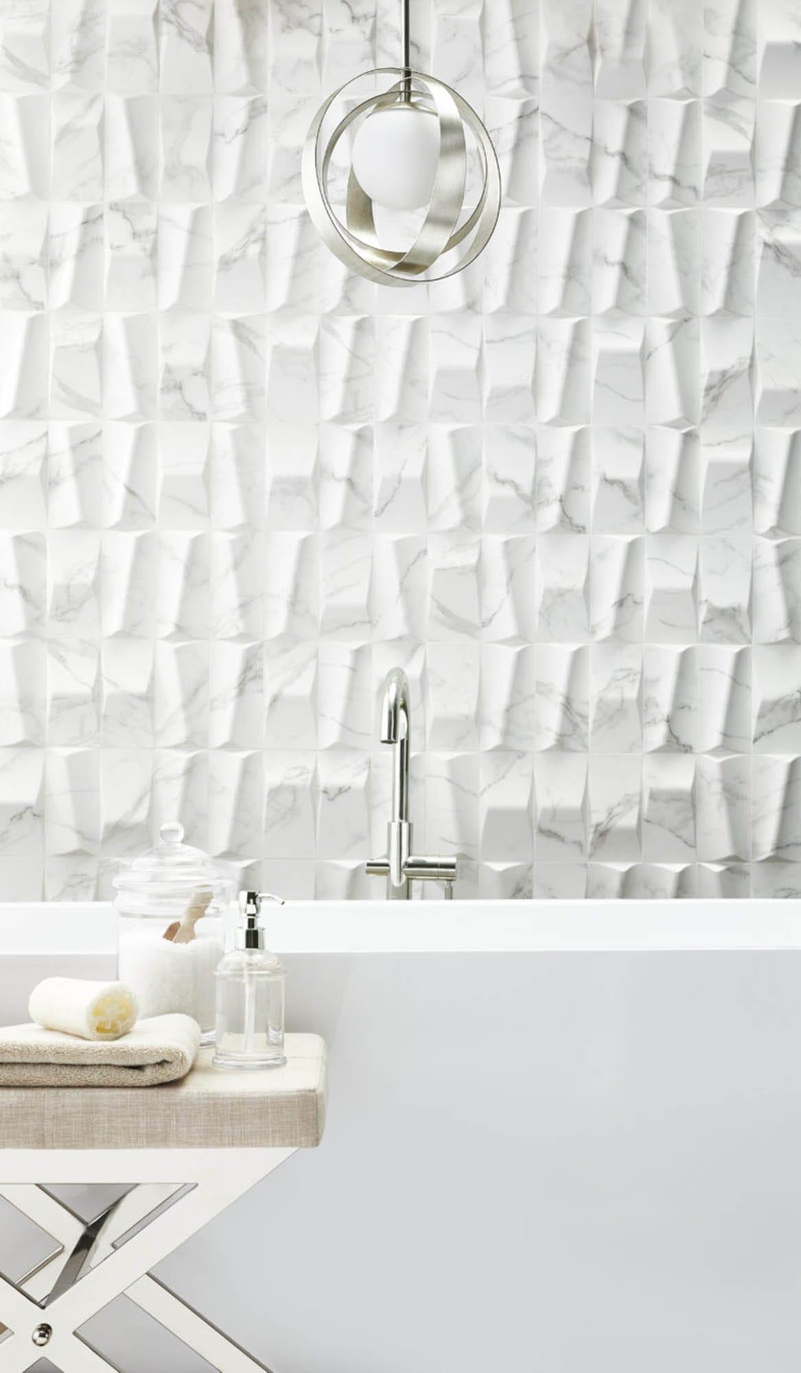 Dimensional white wall tiles