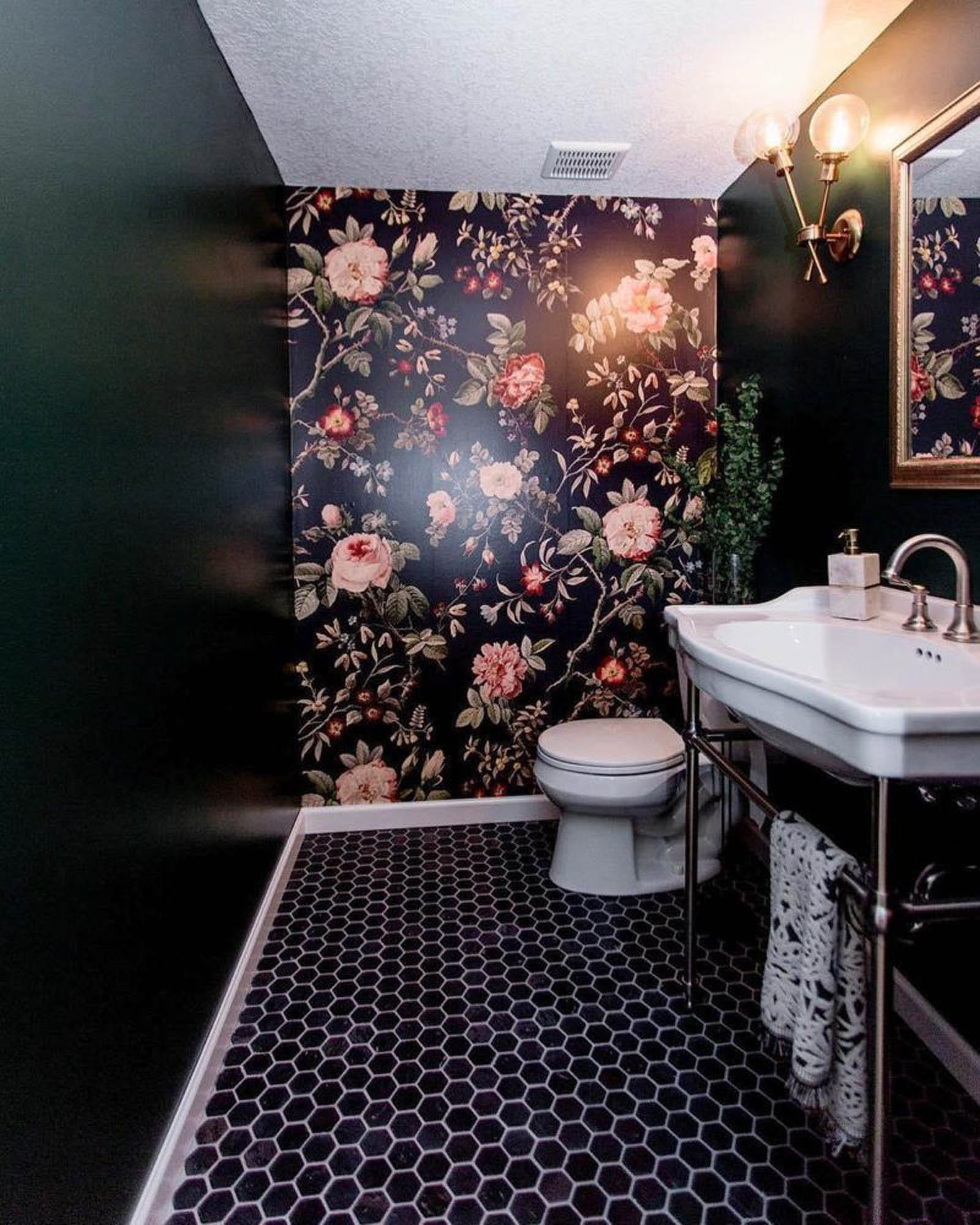 Bathroom with black walls and floors