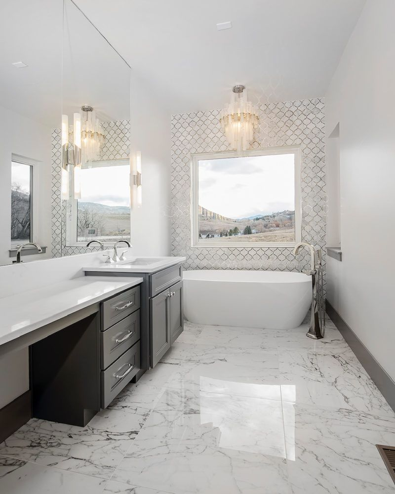 Statement bathroom chandelier