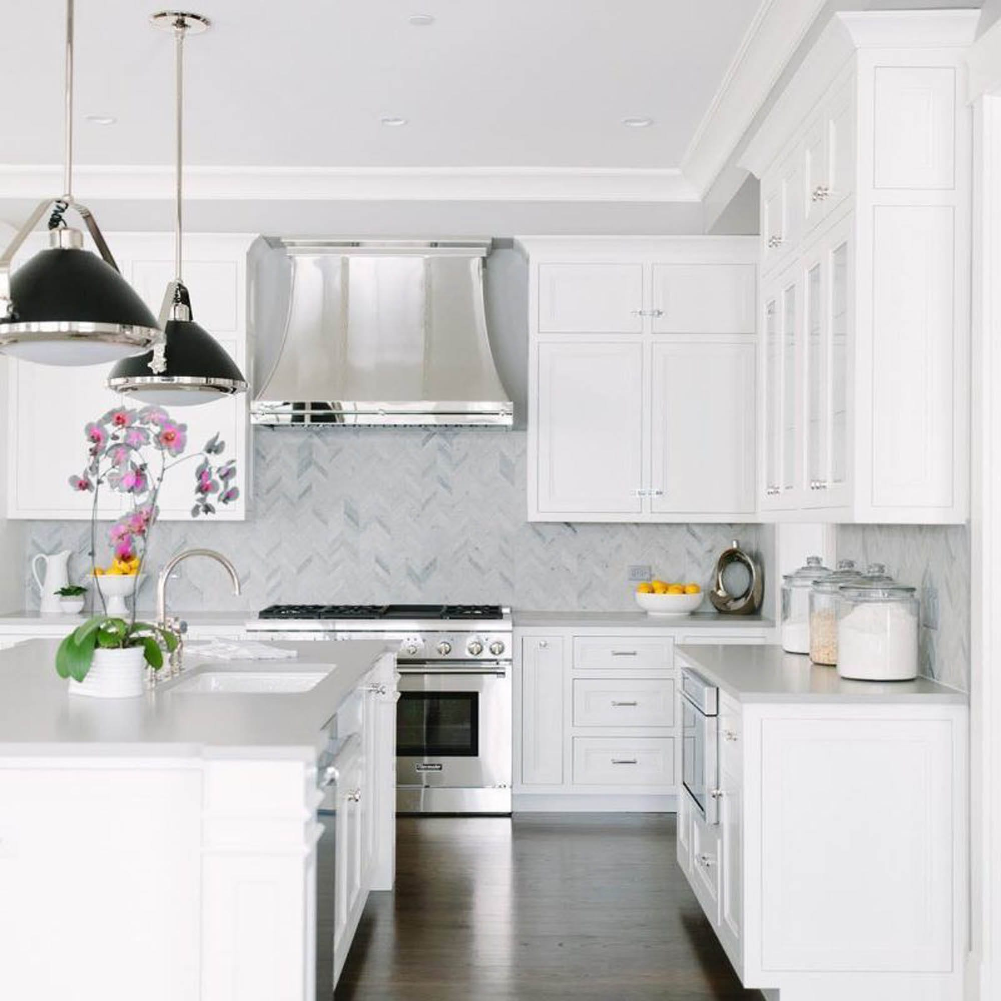 Kitchen backsplash, white kitchen, chevron tile