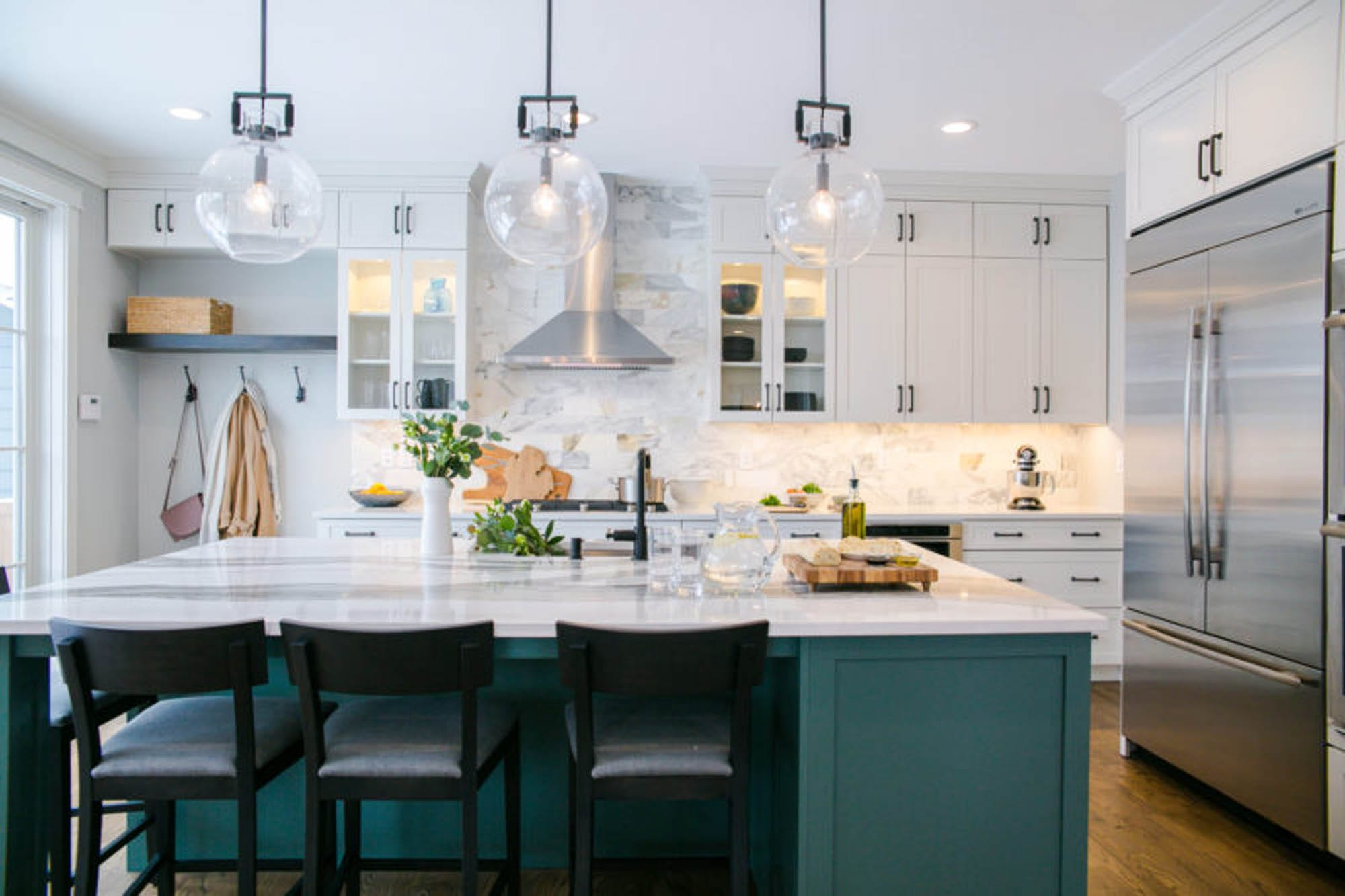 kitchen, subway tile, colorful cabinets