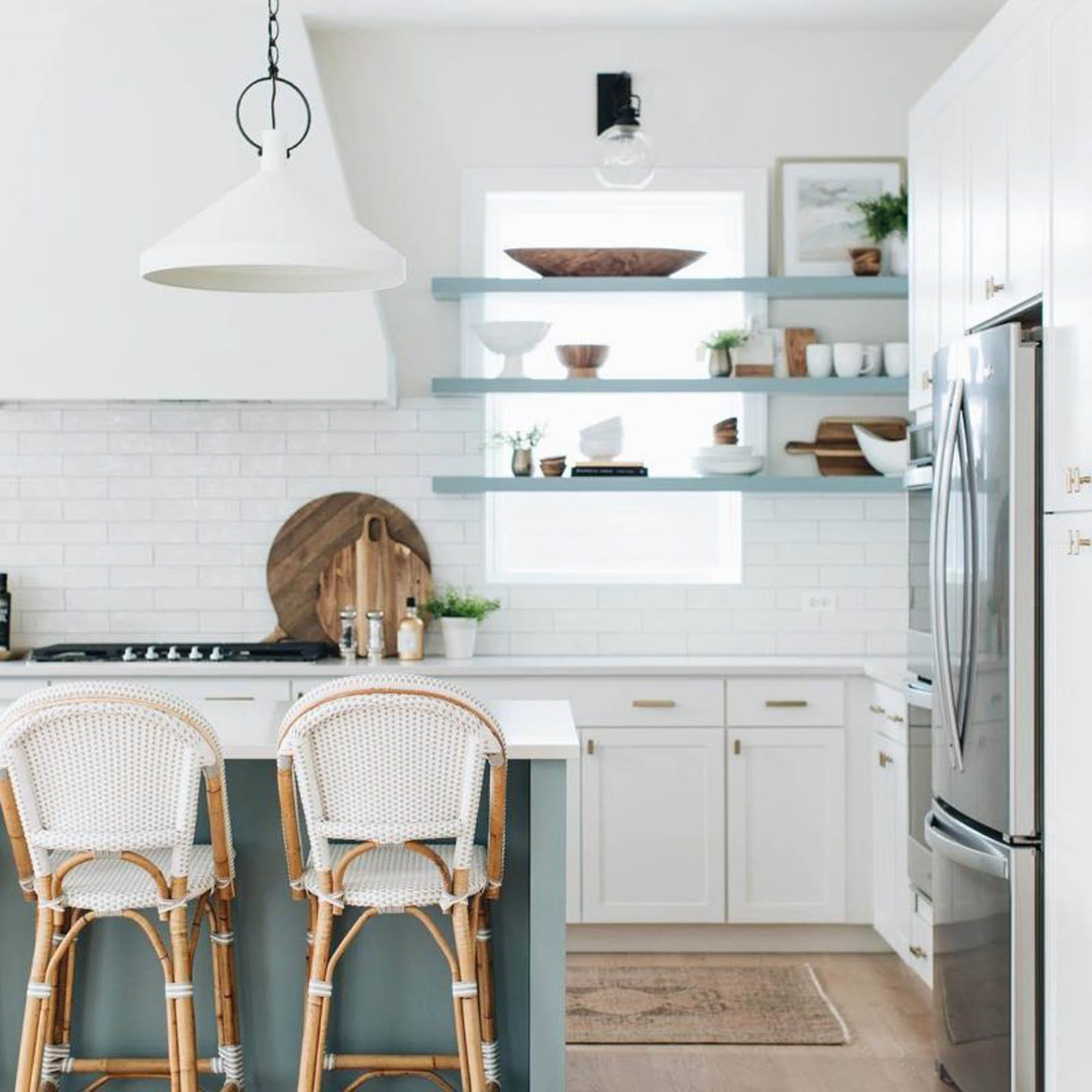 white and blue kitchen, subway tile