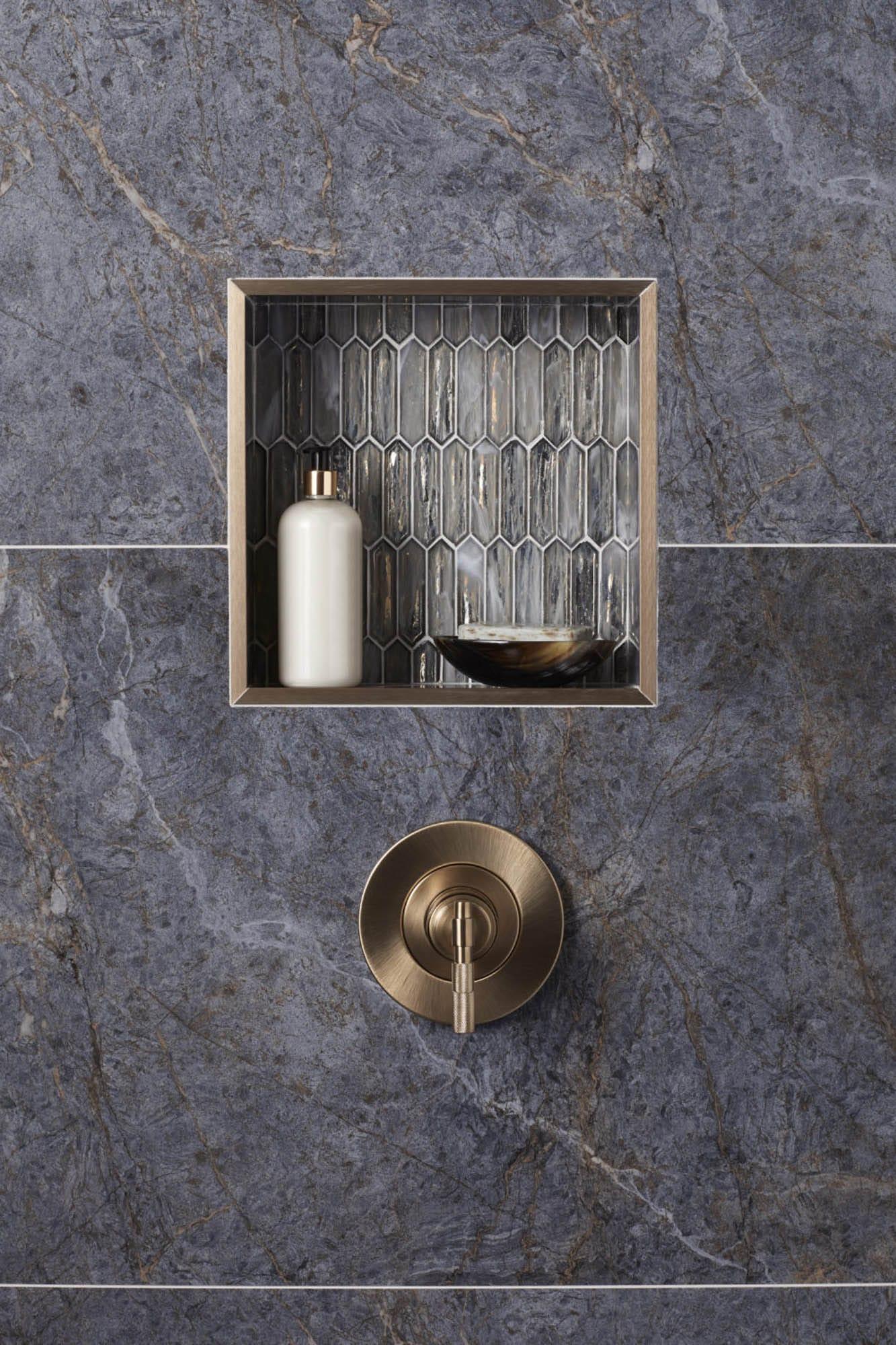 Close-up of shower niche