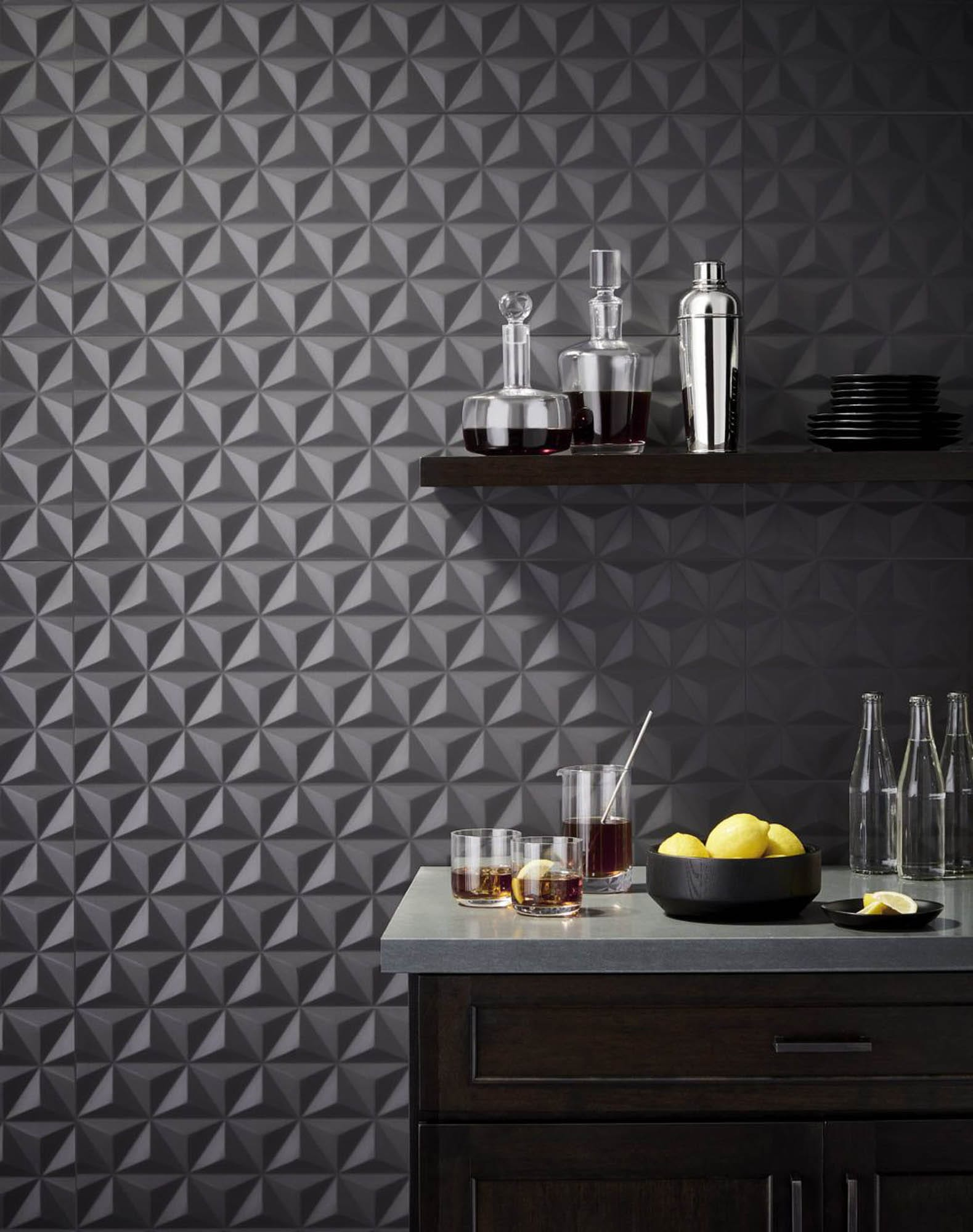 Black geometric bar wall tile