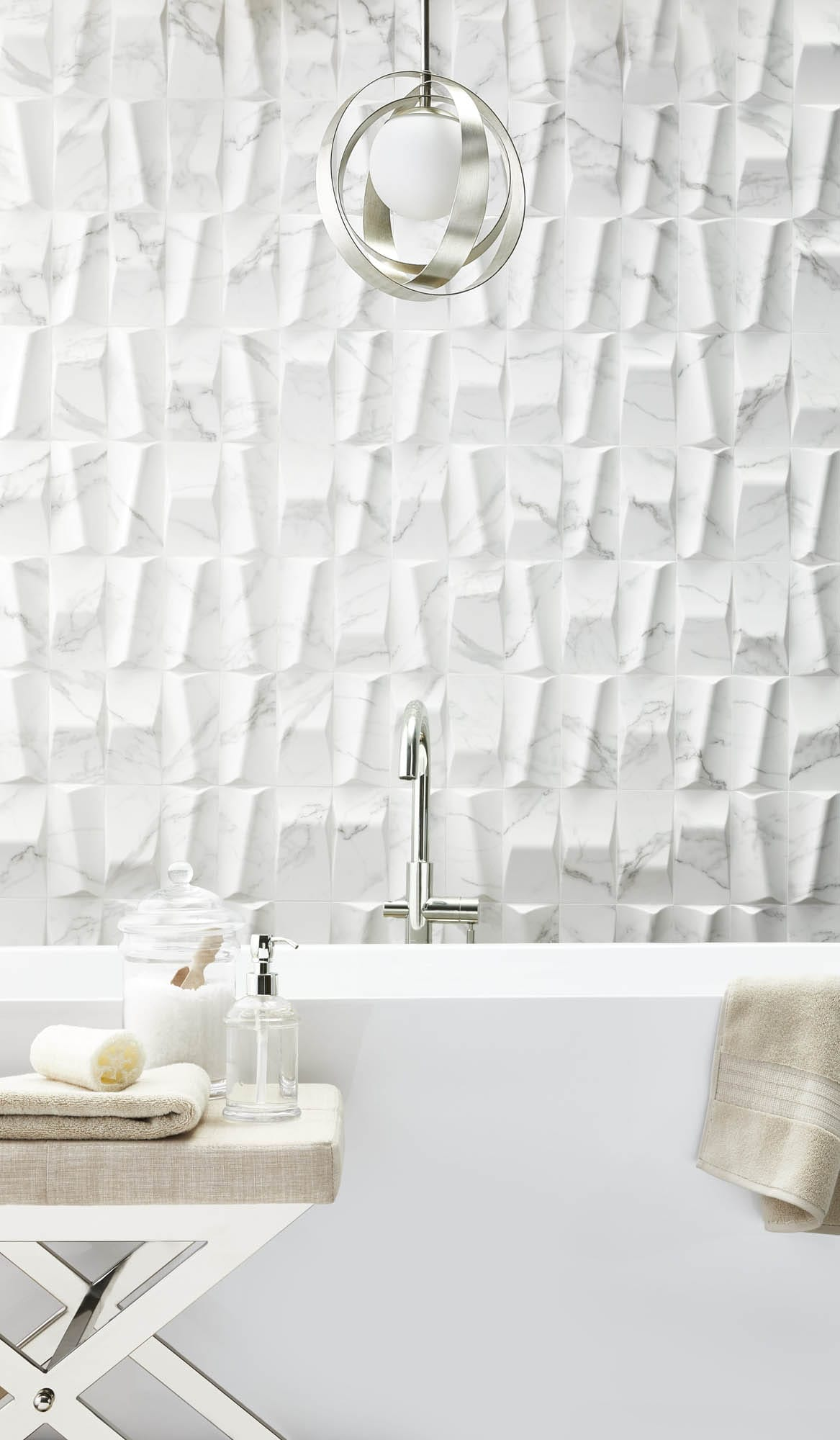 Sculptural white bathroom wall tile