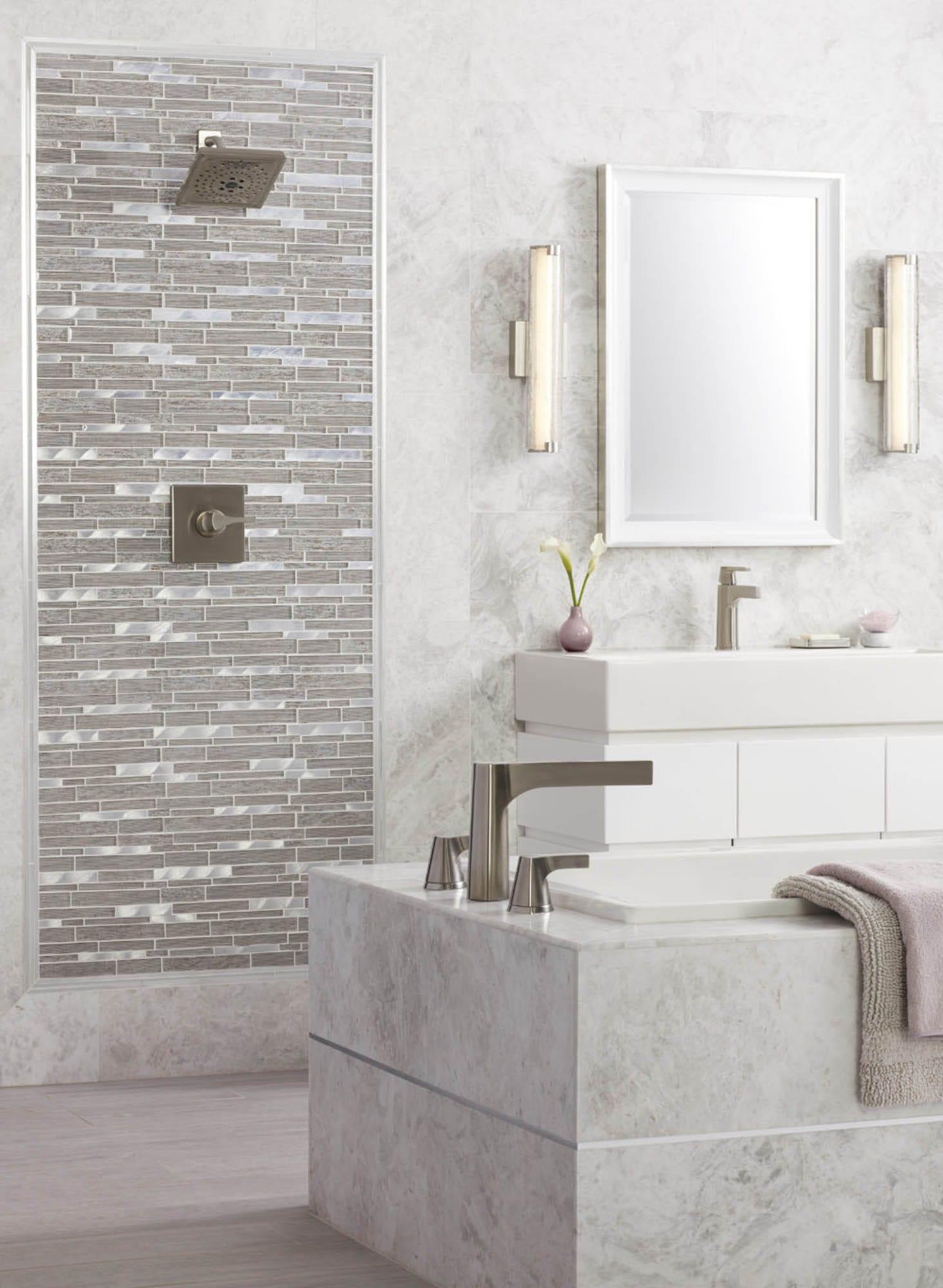 Brushed marble bathroom