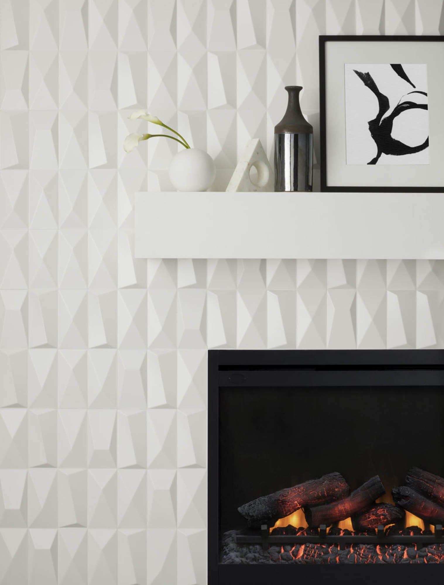 White sculptural fireplace tile