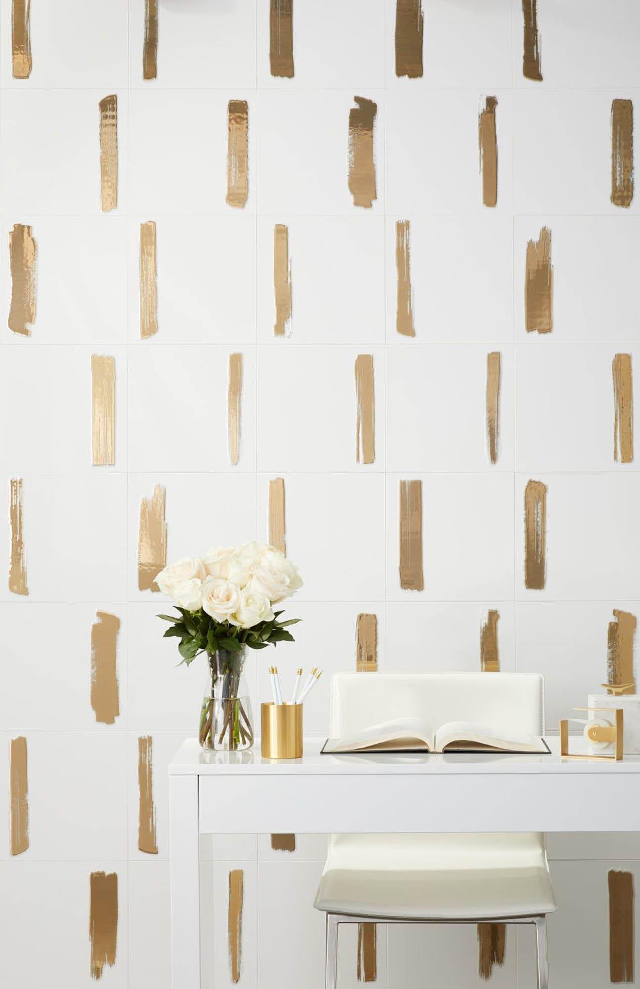 Gold brush stroke wall tile