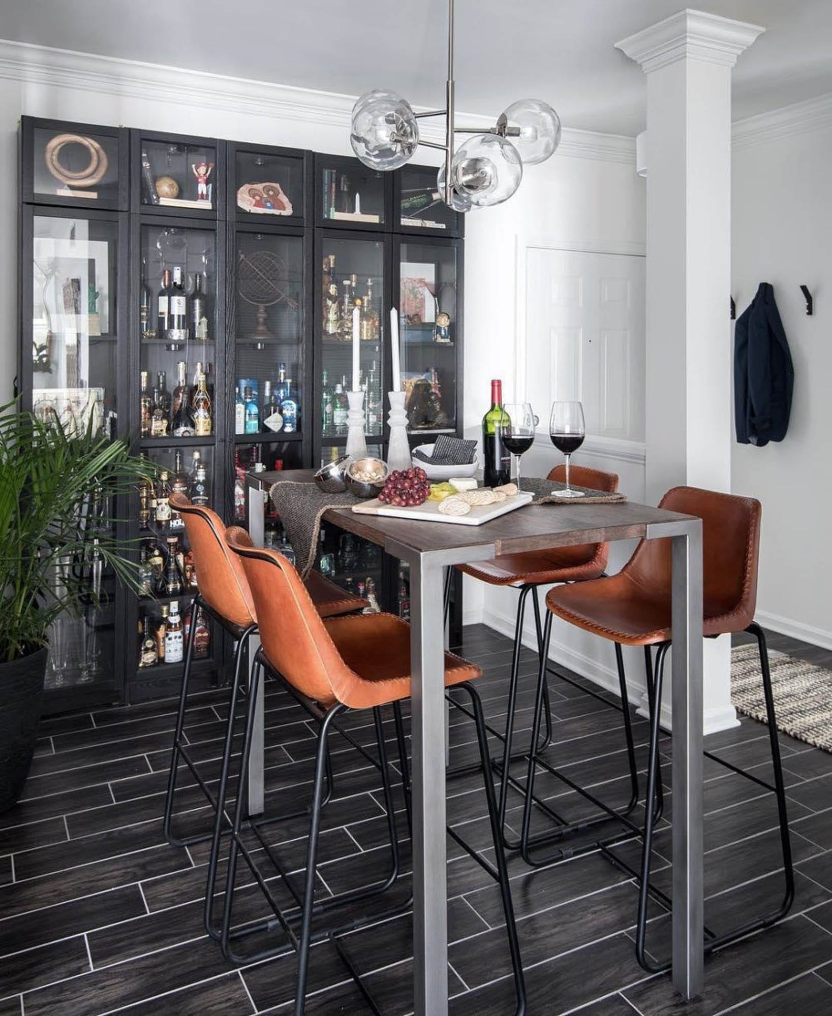 Tiled home bar and table